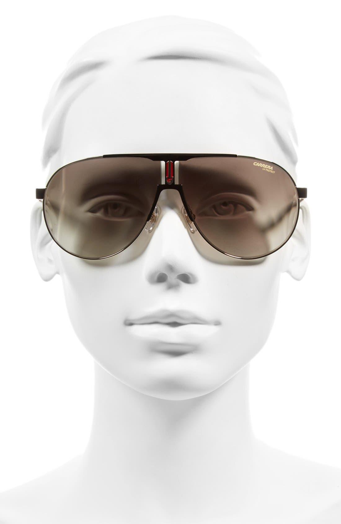66mm Aviator Sunglasses,                             Alternate thumbnail 2, color,                             Black Gold