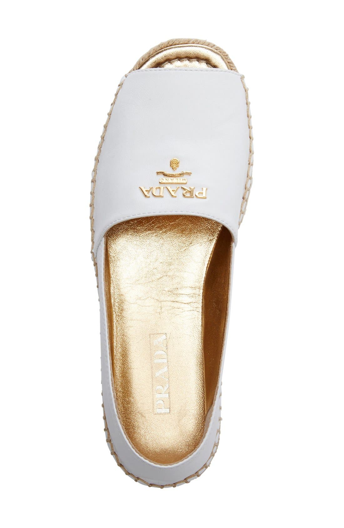 Peep Toe Flatform Espadrille,                             Alternate thumbnail 2, color,                             White