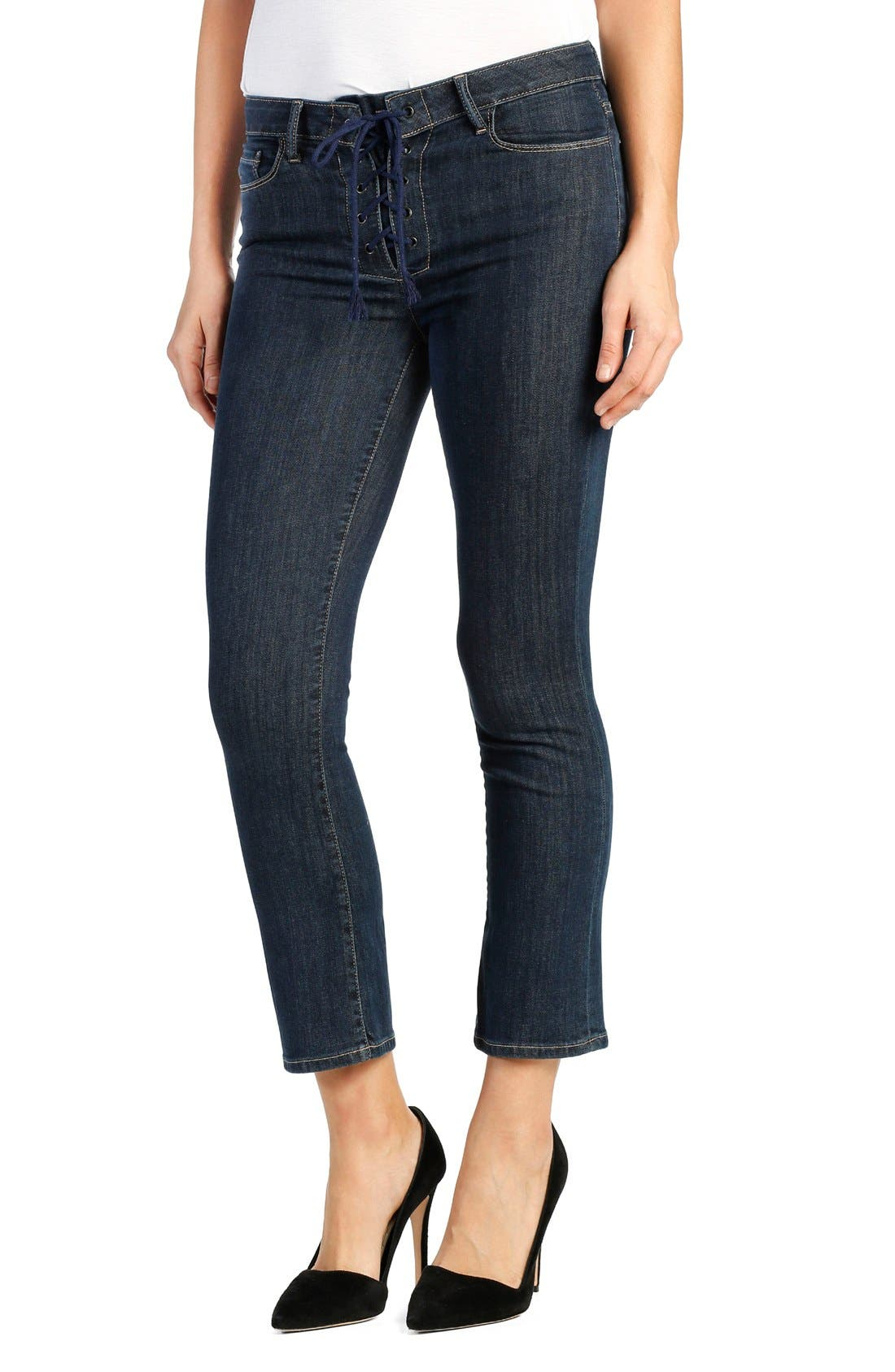 Alternate Image 1 Selected - PAIGE Legacy - Colette High Rise Lace-Up Crop Jeans (Hanley)
