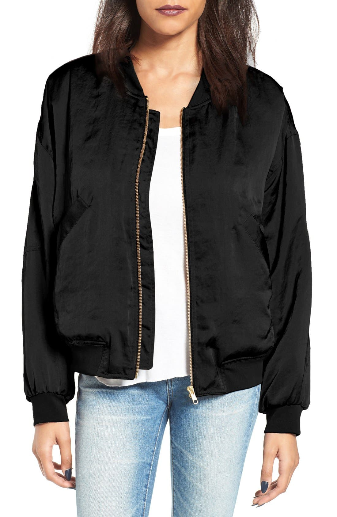 Alternate Image 1 Selected - Leith Satin Bomber Jacket
