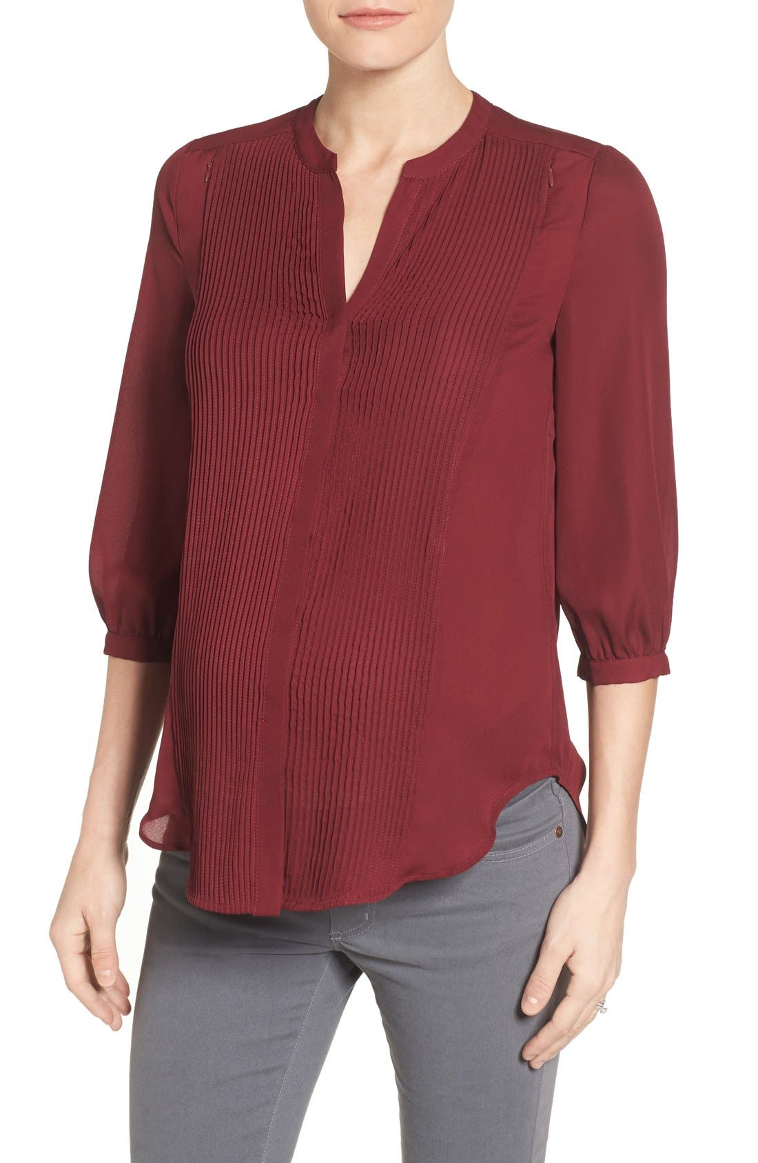 'Audrey' Maternity/Nursing Tuxedo Blouse,                         Main,                         color, Burgundy