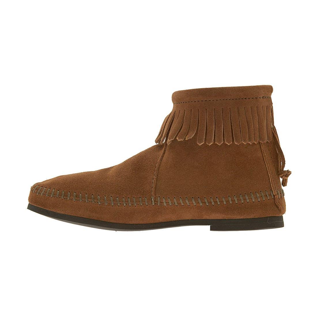 Fringed Short Boot,                             Alternate thumbnail 2, color,                             Brown