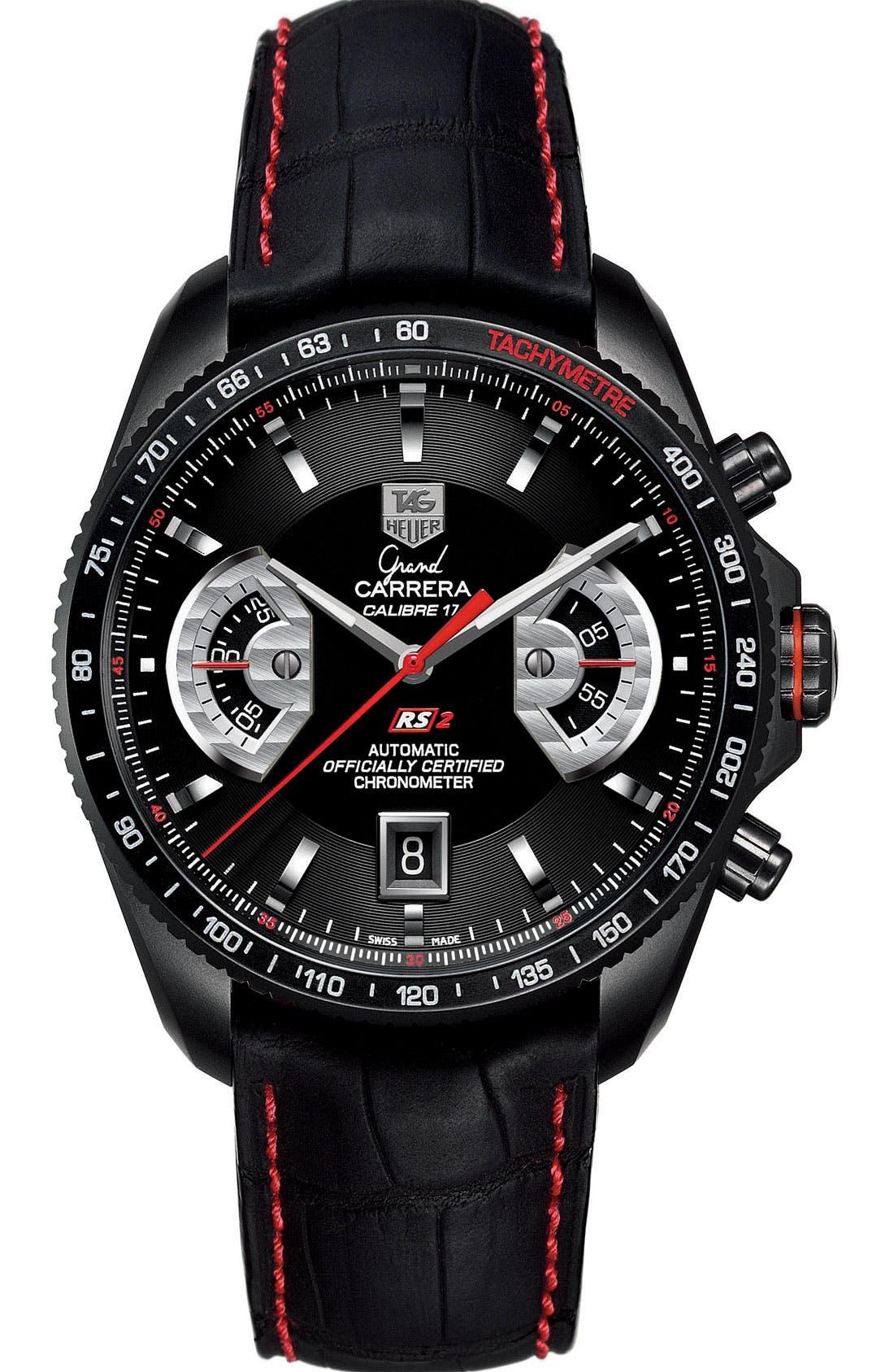 'Grand Carrera' Chronograph Watch,                         Main,                         color, Titanium / Black