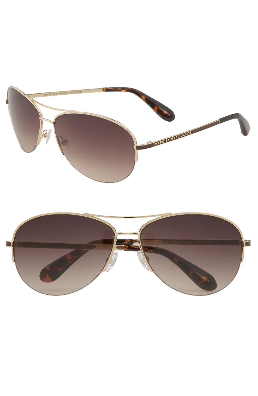 59mm Rimless Aviator Sunglasses,                         Main,                         color, Brown Tortoise