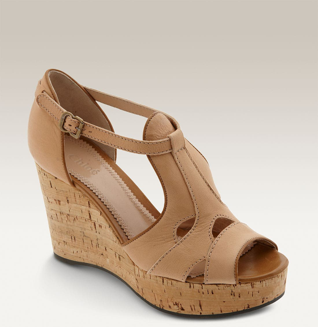 Alternate Image 1 Selected - Chloé Cutout T-Strap Cork Wedge