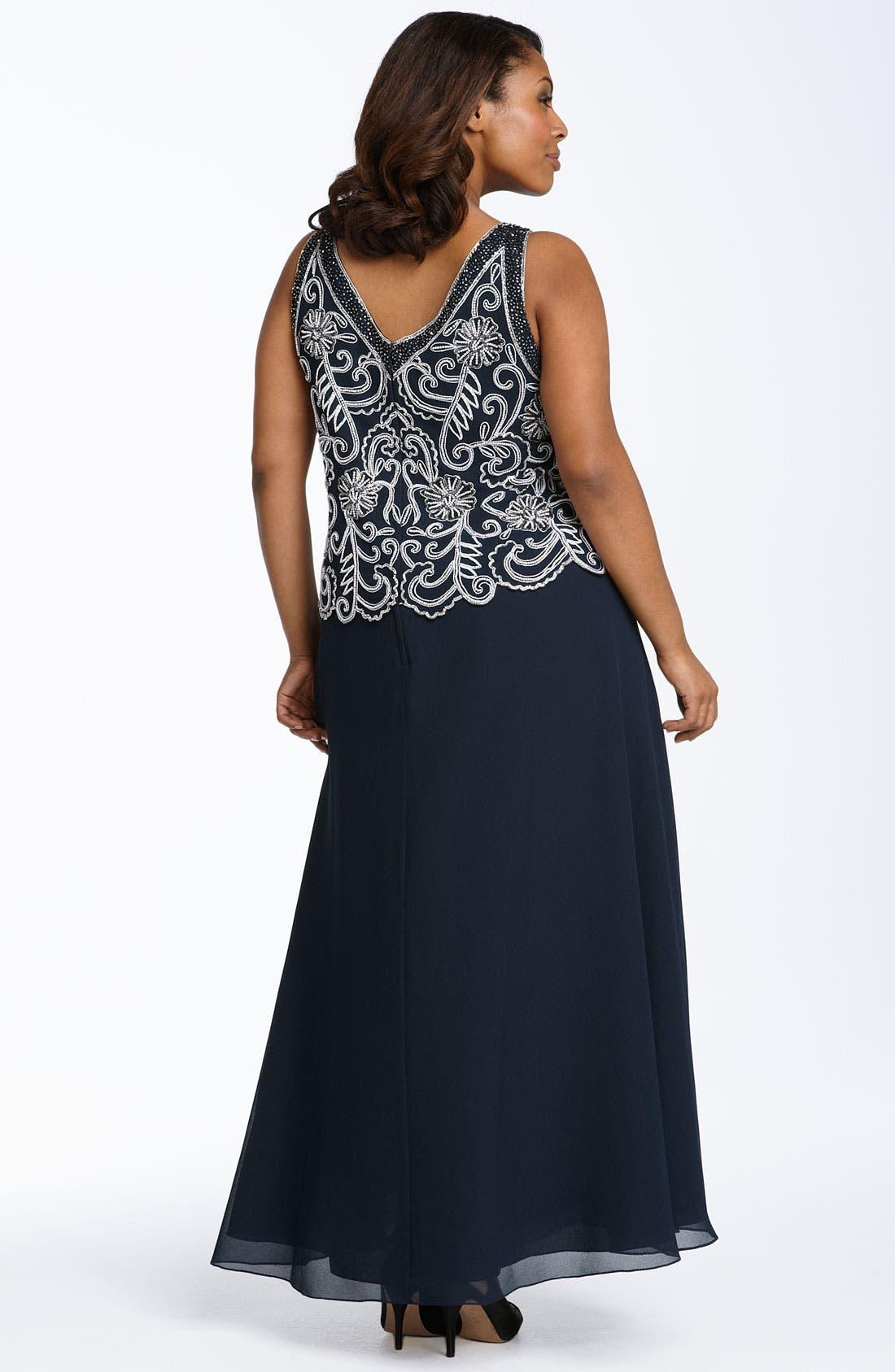 Alternate Image 2  - J Kara Sheer Beaded Chiffon Gown with Jacket (Plus)