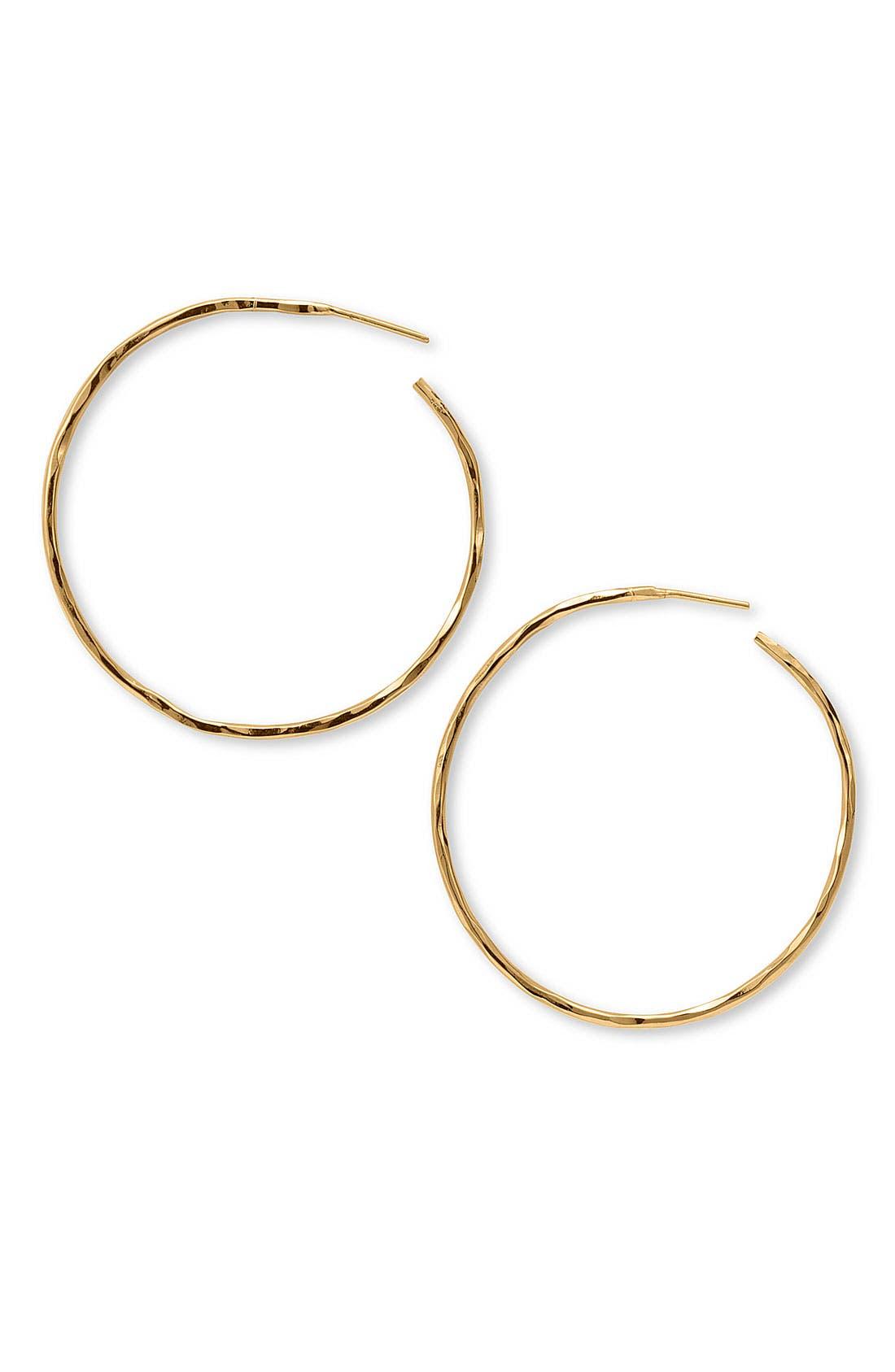 Hammered Large Hoop Earrings,                         Main,                         color, Gold Vermeil