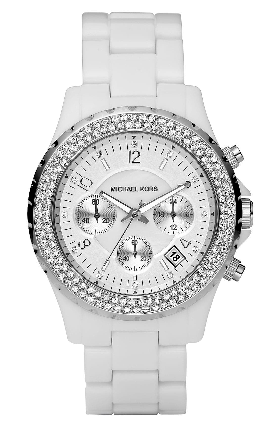 Michael Kors 'Madison' Twin Row Crystal Chronograph Watch, 42mm,                         Main,                         color, Silver/ White