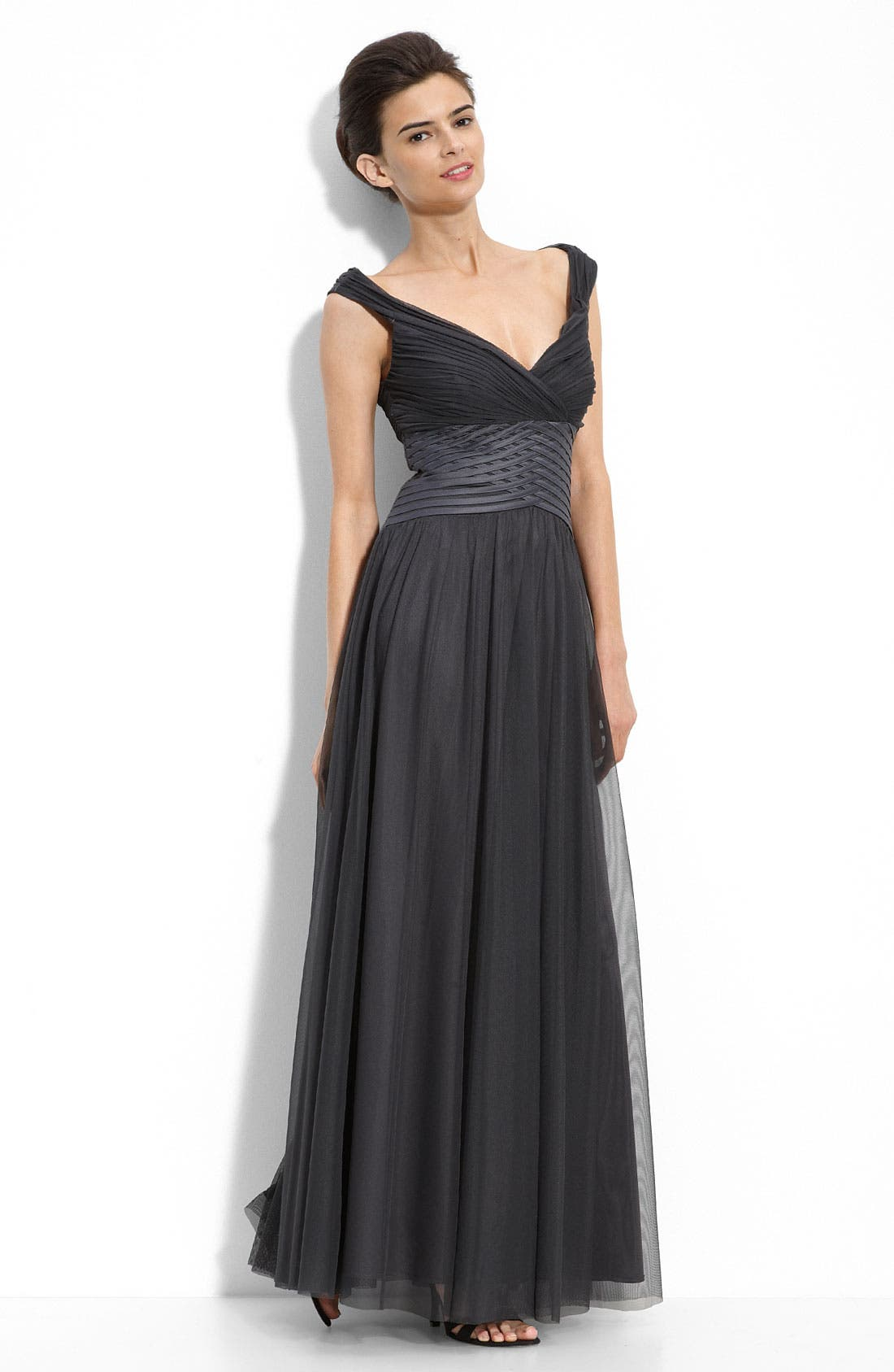 Alternate Image 1 Selected - JS Collections Off the Shoulder Mesh Gown