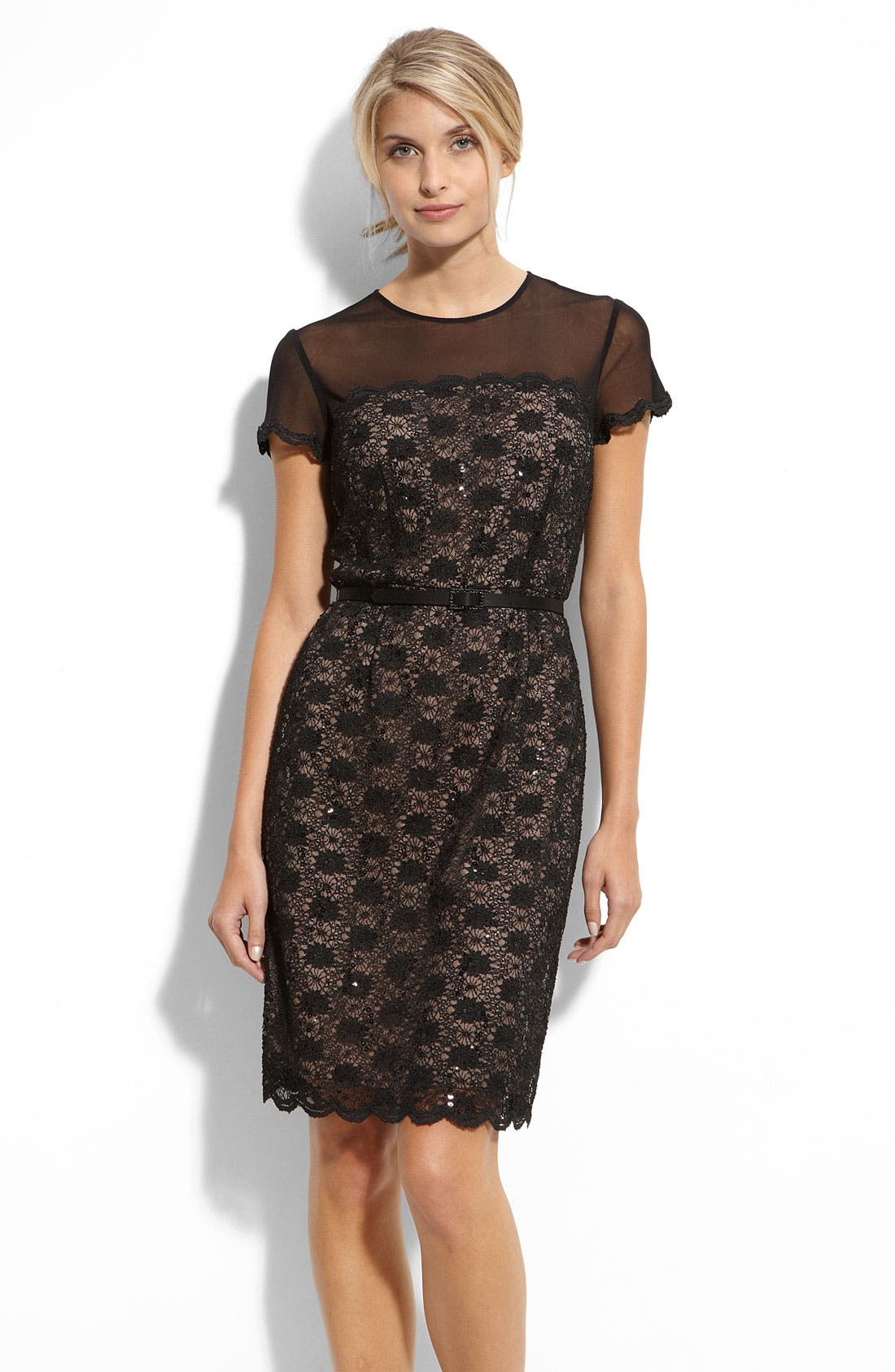 Main Image - Alex Evenings Illusion Bodice Lace Sheath Dress
