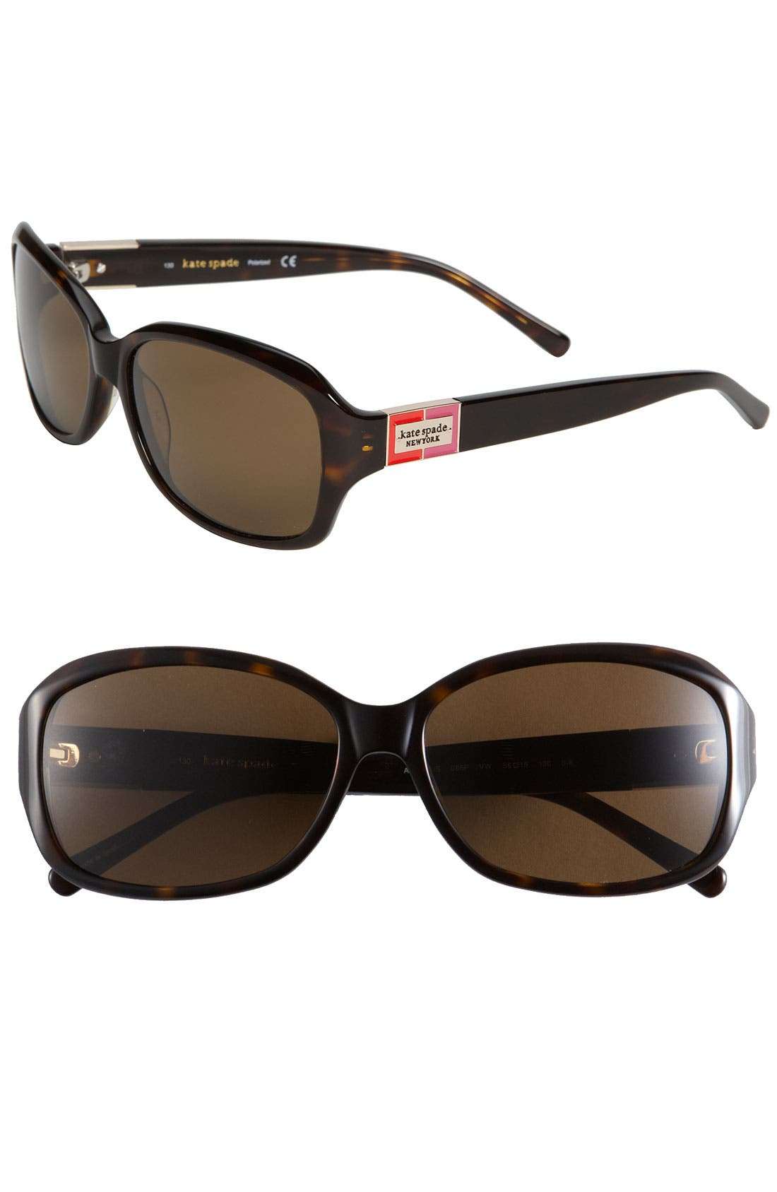 'annika' 56mm polarized rectangular sunglasses,                         Main,                         color, Tortoise Polar