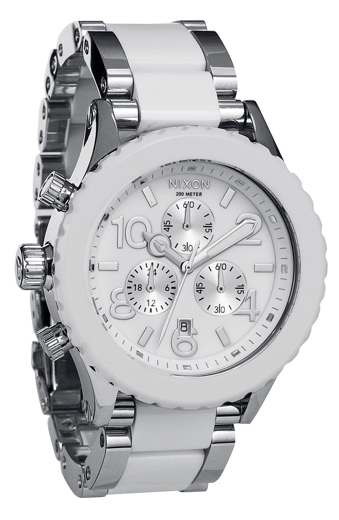 'The 42-20 Chrono' Acetate & Stainless Steel Watch,                             Main thumbnail 1, color,                             White/ Silver
