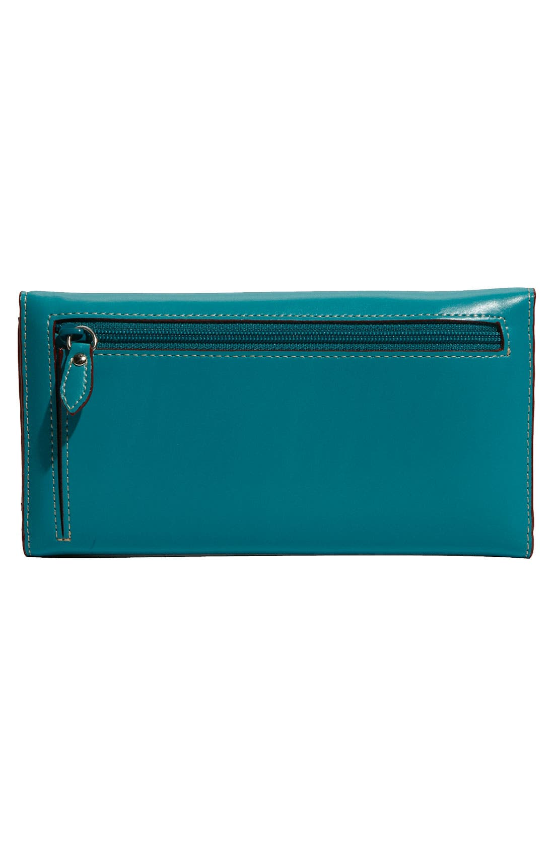 Lodis 'Audrey' Checkbook Clutch Wallet,                             Alternate thumbnail 4, color,                             Teal/ Merlot