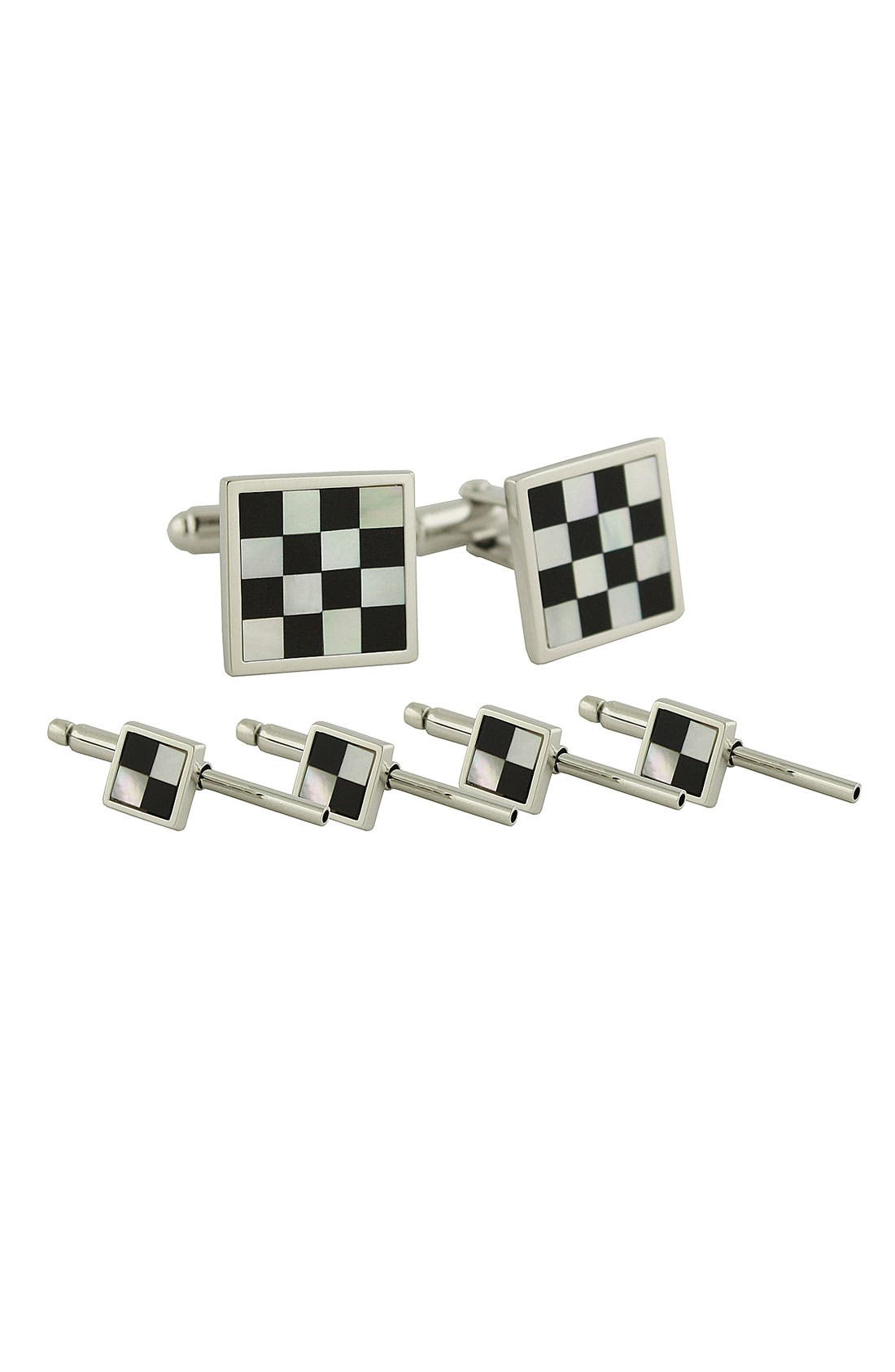 Inlaid Sterling Silver Cuff Link & Stud Set,                             Main thumbnail 1, color,                             Silver/ Onyx/ M.O.P
