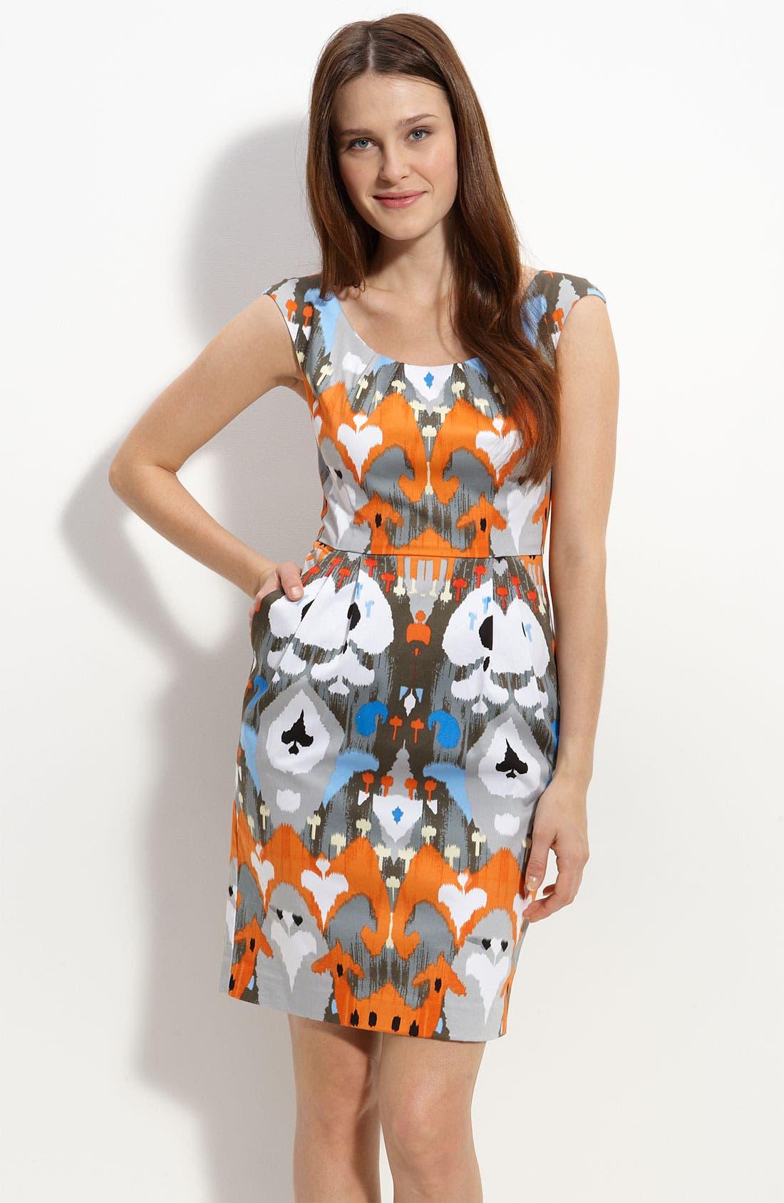 Ikat Cotton Sateen Sheath Dress,                             Main thumbnail 1, color,                             Orange Multi