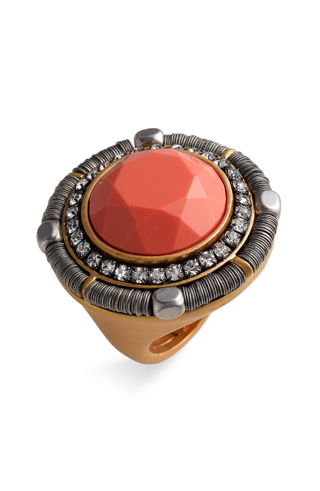 'Wanderlust' Mixed Media Adjustable Ring,                         Main,                         color, Coral