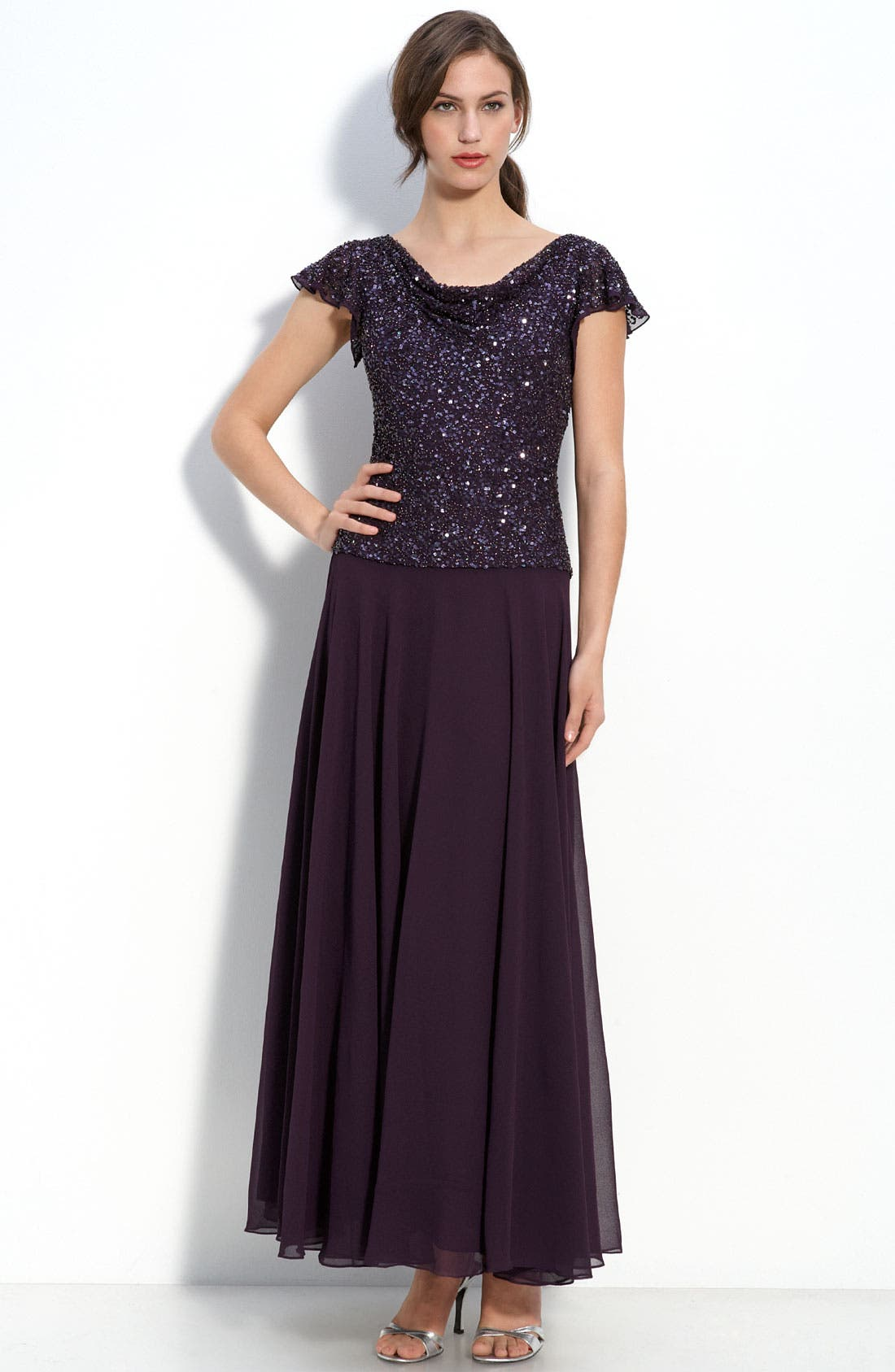 Main Image - J Kara Beaded Mock Two Piece Chiffon Dress