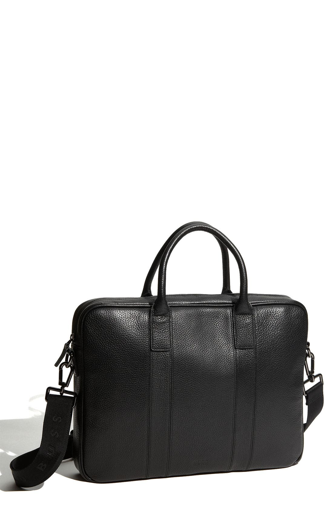 Alternate Image 1 Selected - BOSS HUGO BOSS Pebbled Leather Top Zip Briefcase