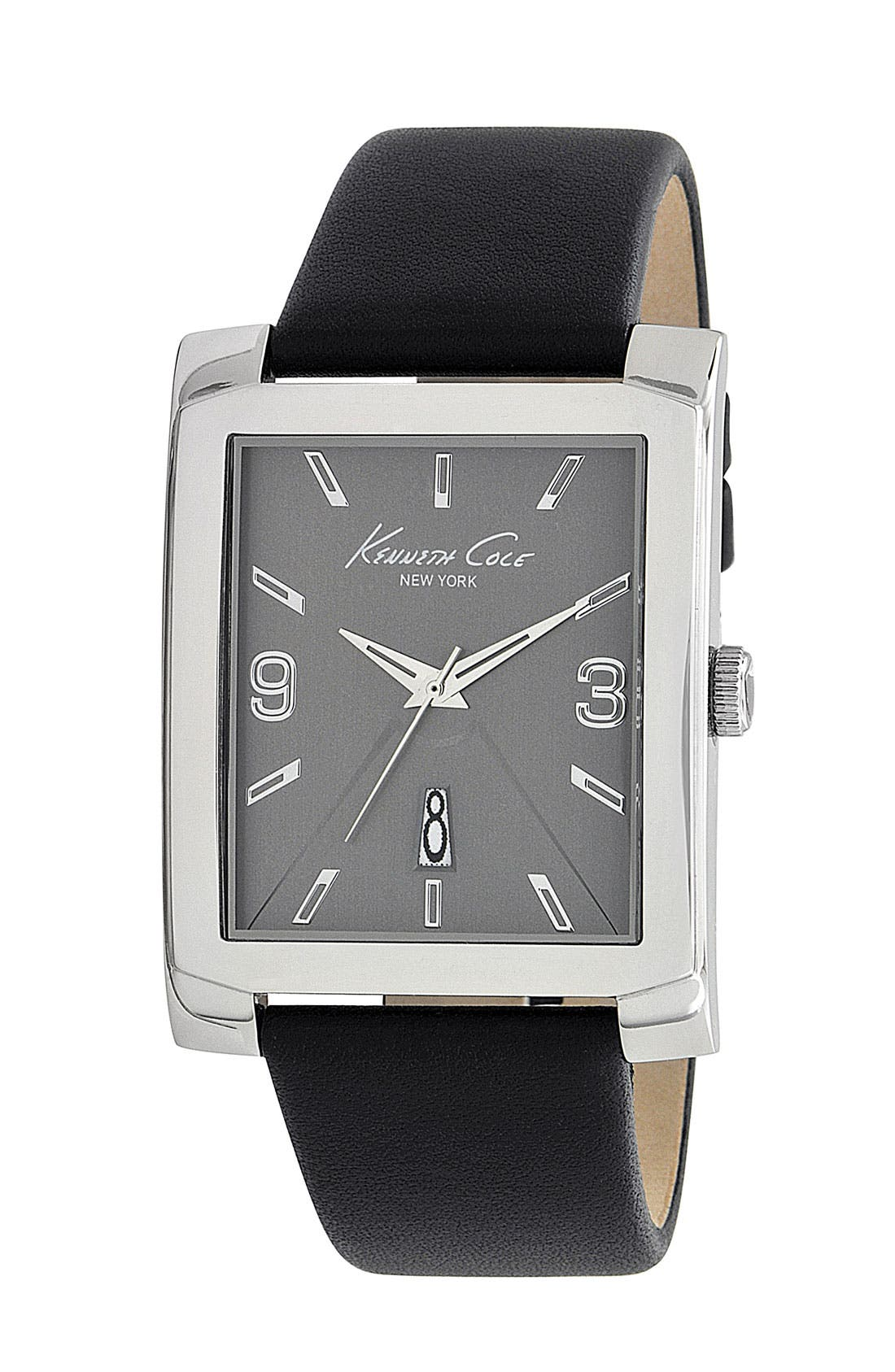 Alternate Image 1 Selected - Kenneth Cole New York Leather Strap Watch