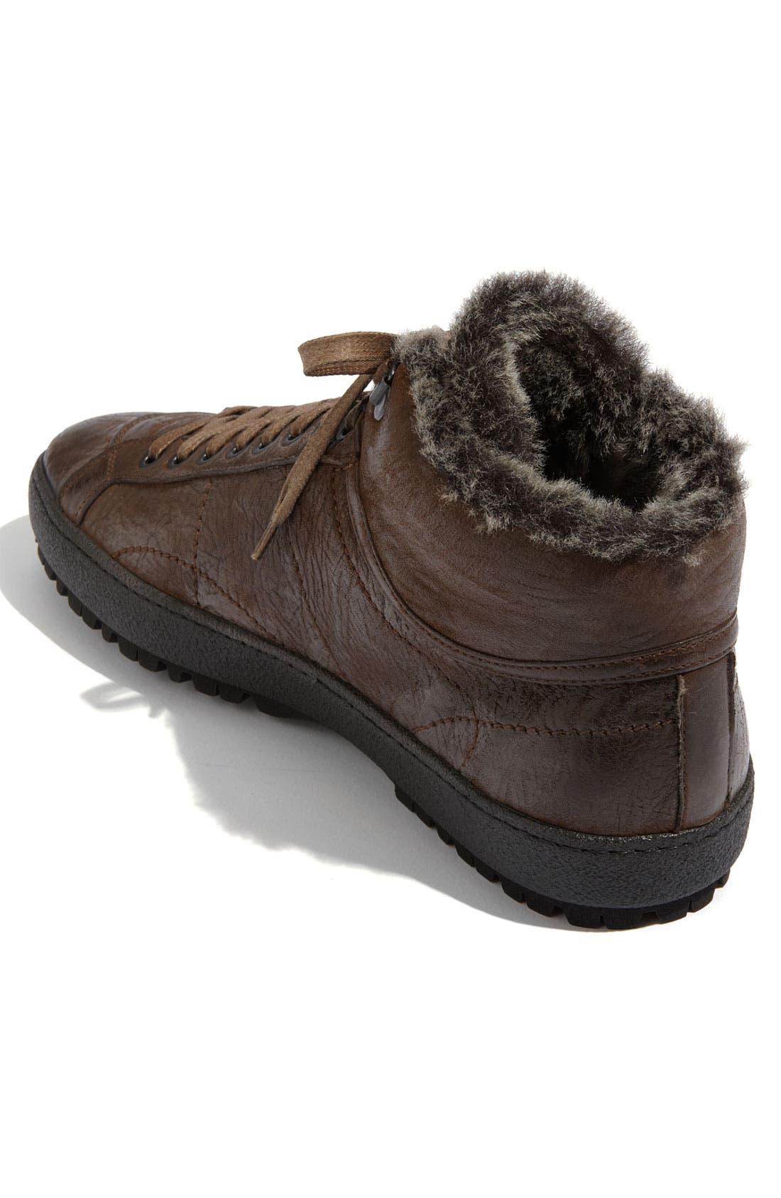 Alternate Image 2  - Santoni 'Dorado' Shearling Trimmed Sneaker