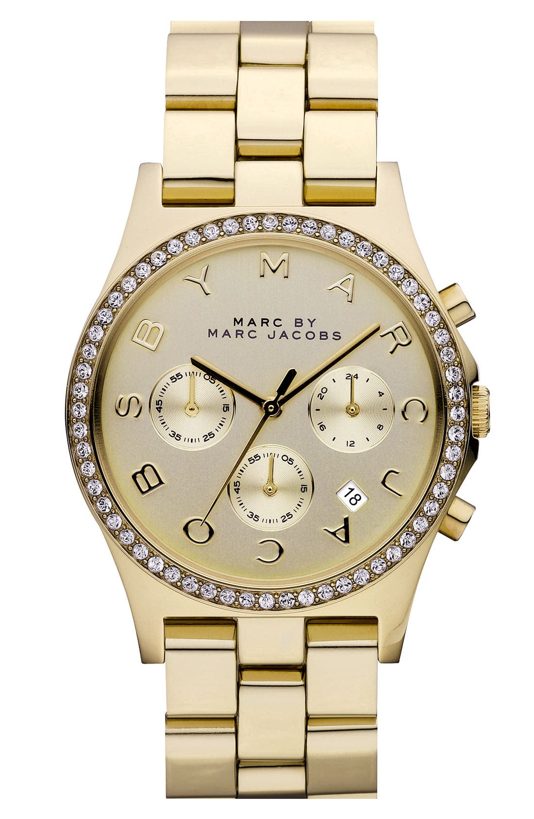 'Henry' Chronograph & Crystal Topring Watch, 40mm,                         Main,                         color, Gold