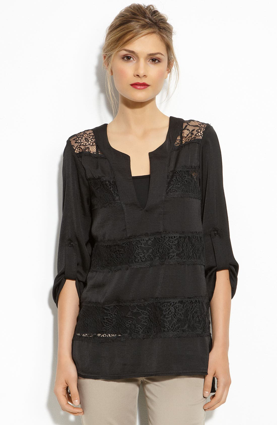 'Erid' Lace Tunic,                         Main,                         color, Black