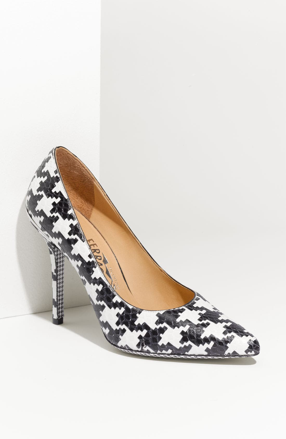 Houndstooth Genuine Python Pump,                             Main thumbnail 1, color,                             Black White Python