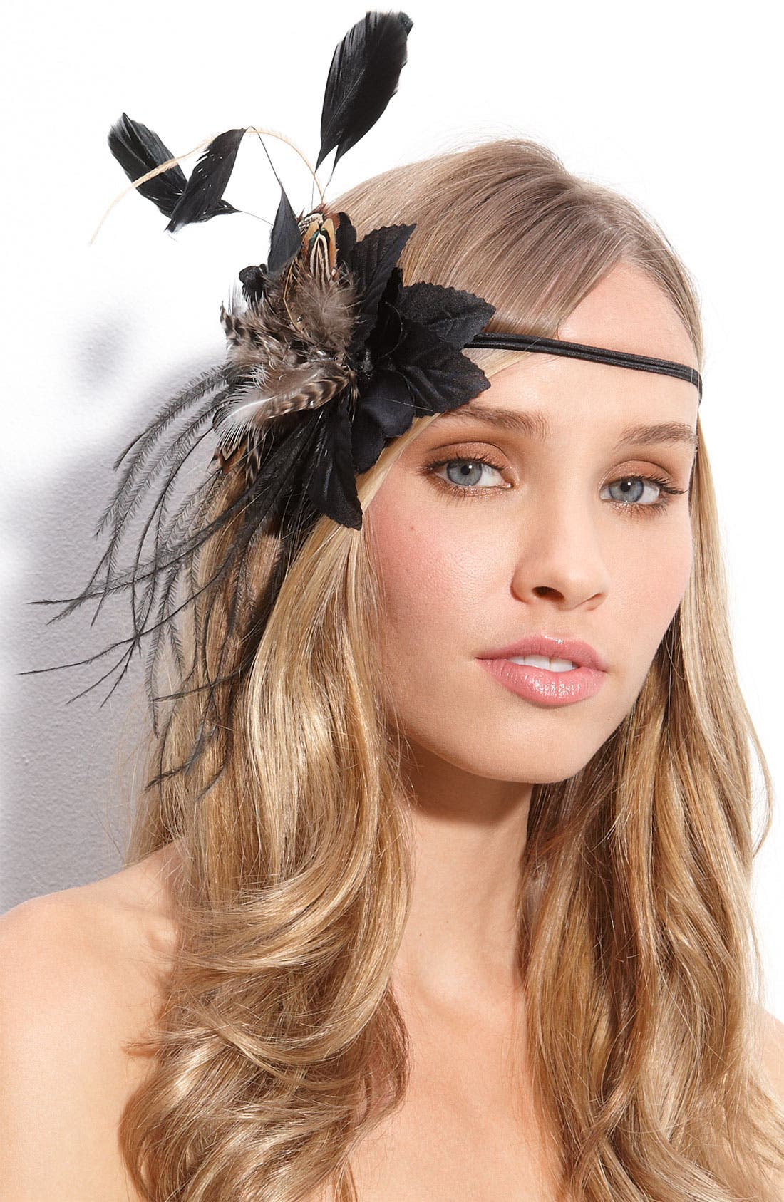 'So Fresh & So Fly' Fascinator Head Wrap,                             Main thumbnail 1, color,                             Black