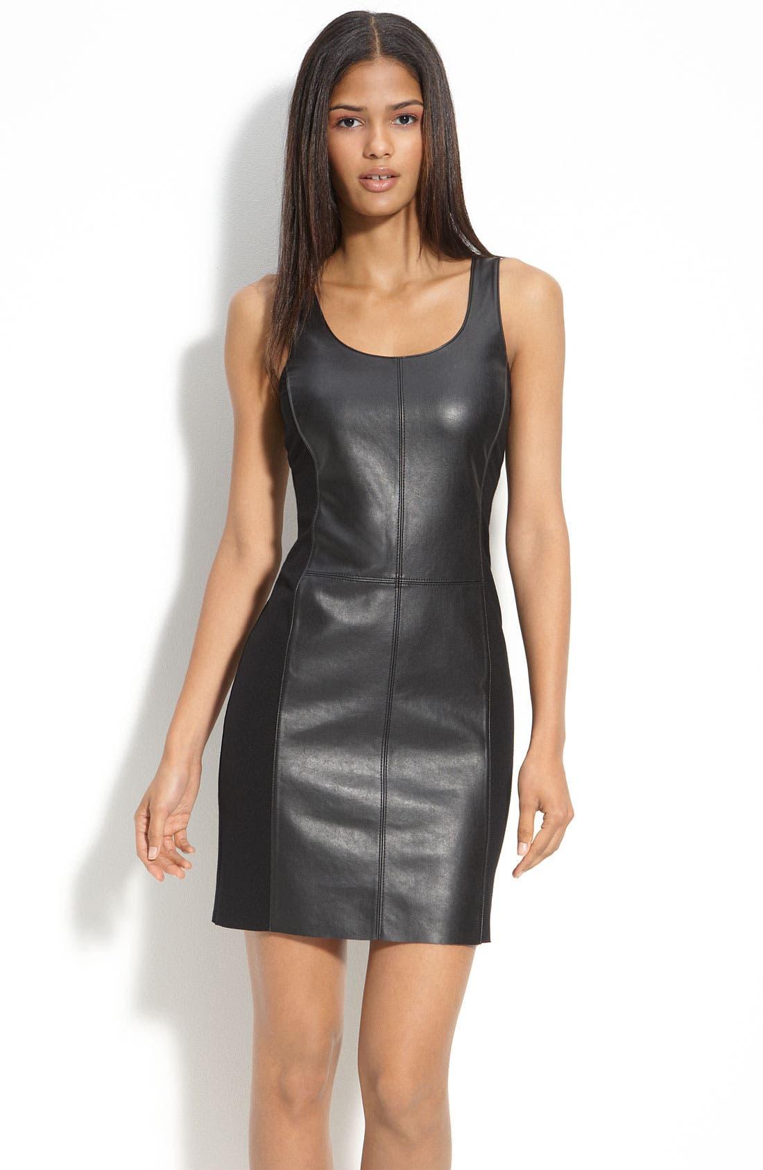 Faux Leather & Knit Dress,                         Main,                         color, Black