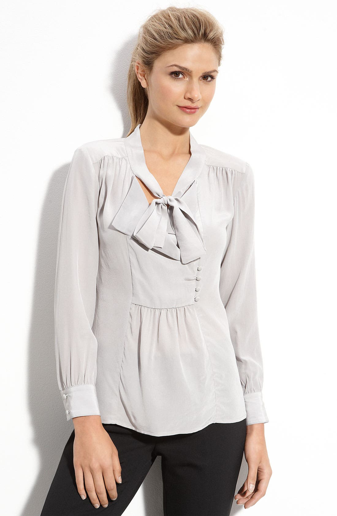 'Cleona' Tie Neck Blouse,                         Main,                         color, Opal Grey