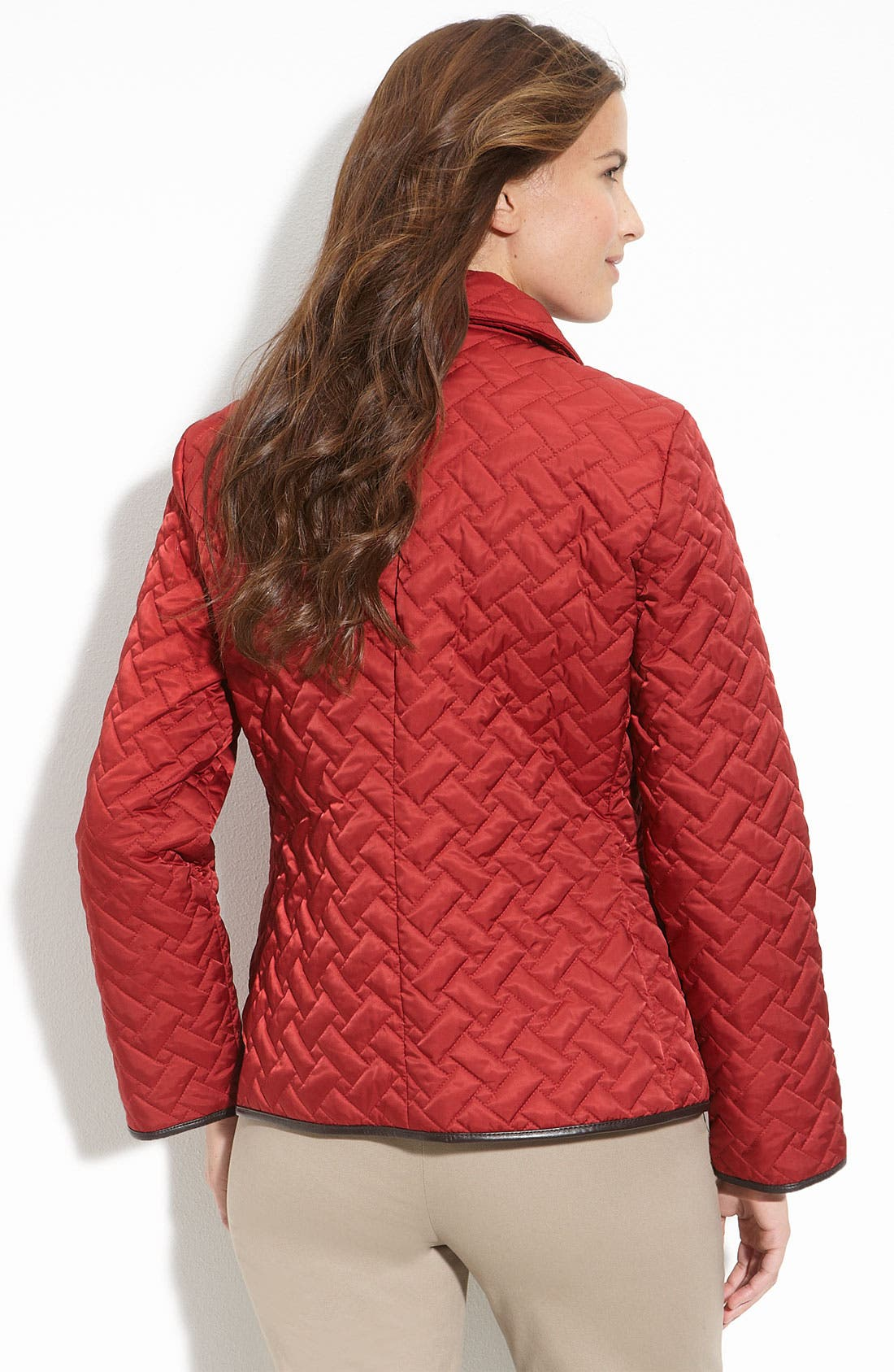 Alternate Image 2  - Cole Haan Leather Trim Quilted Jacket (Petite)