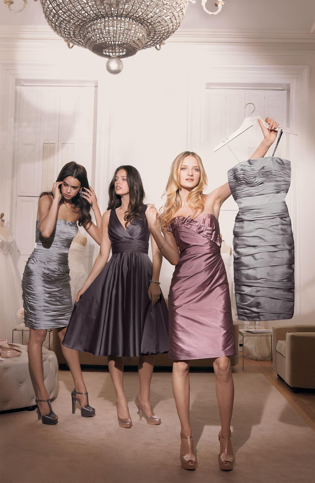 Alternate Image 3  - ML Monique Lhuillier Bridesmaids Satin Ruffle Trim Strapless Dress (Nordstrom Exclusive)