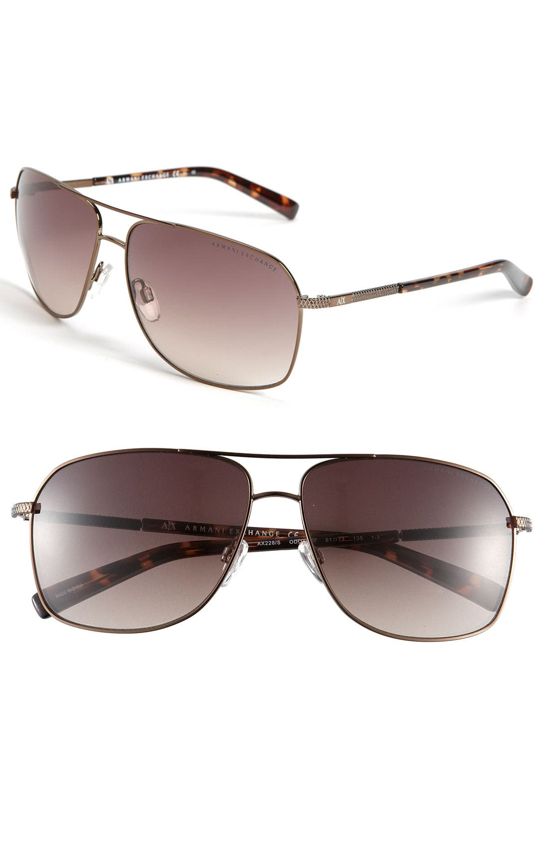Alternate Image 1 Selected - AX Armani Exchange Metal Aviator Sunglasses