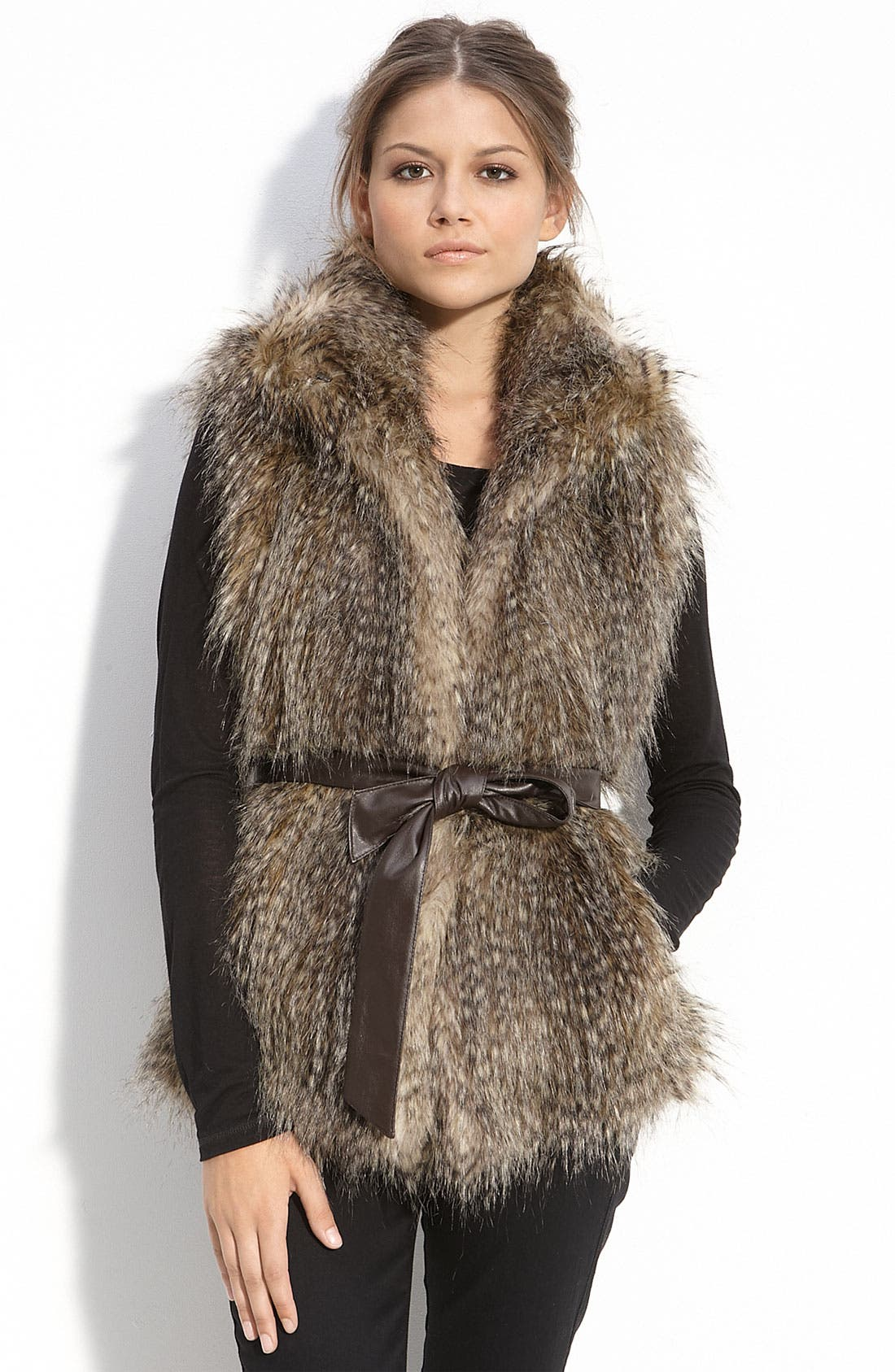 Alternate Image 1 Selected - Kristen Blake Belted Faux Fur Vest