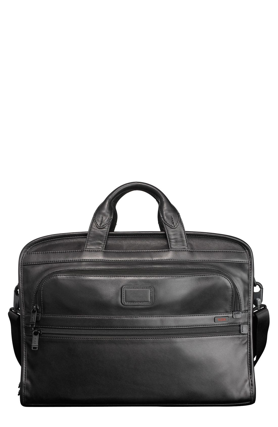Main Image - Tumi 'Alpha' Slim Large Screen Computer Portfolio Leather Briefcase