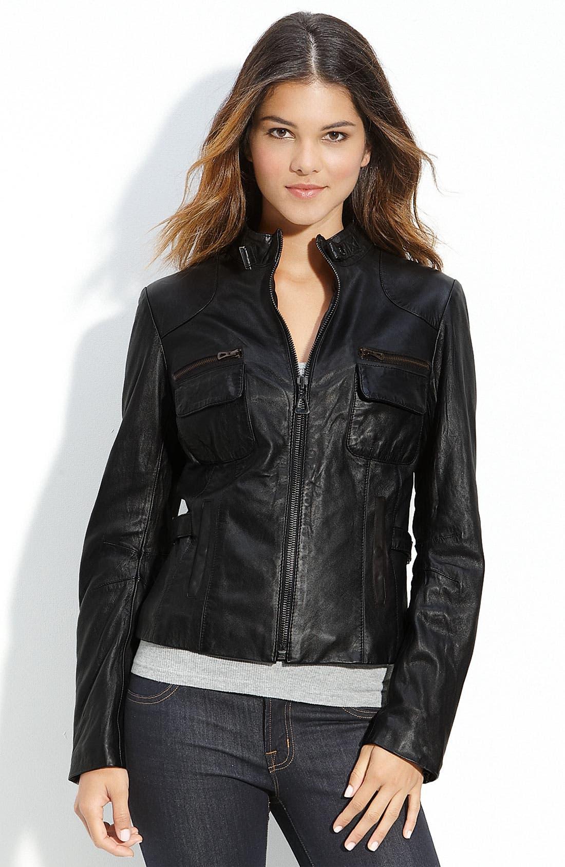 Alternate Image 1 Selected - Bod & Christensen Stand Collar Leather Jacket