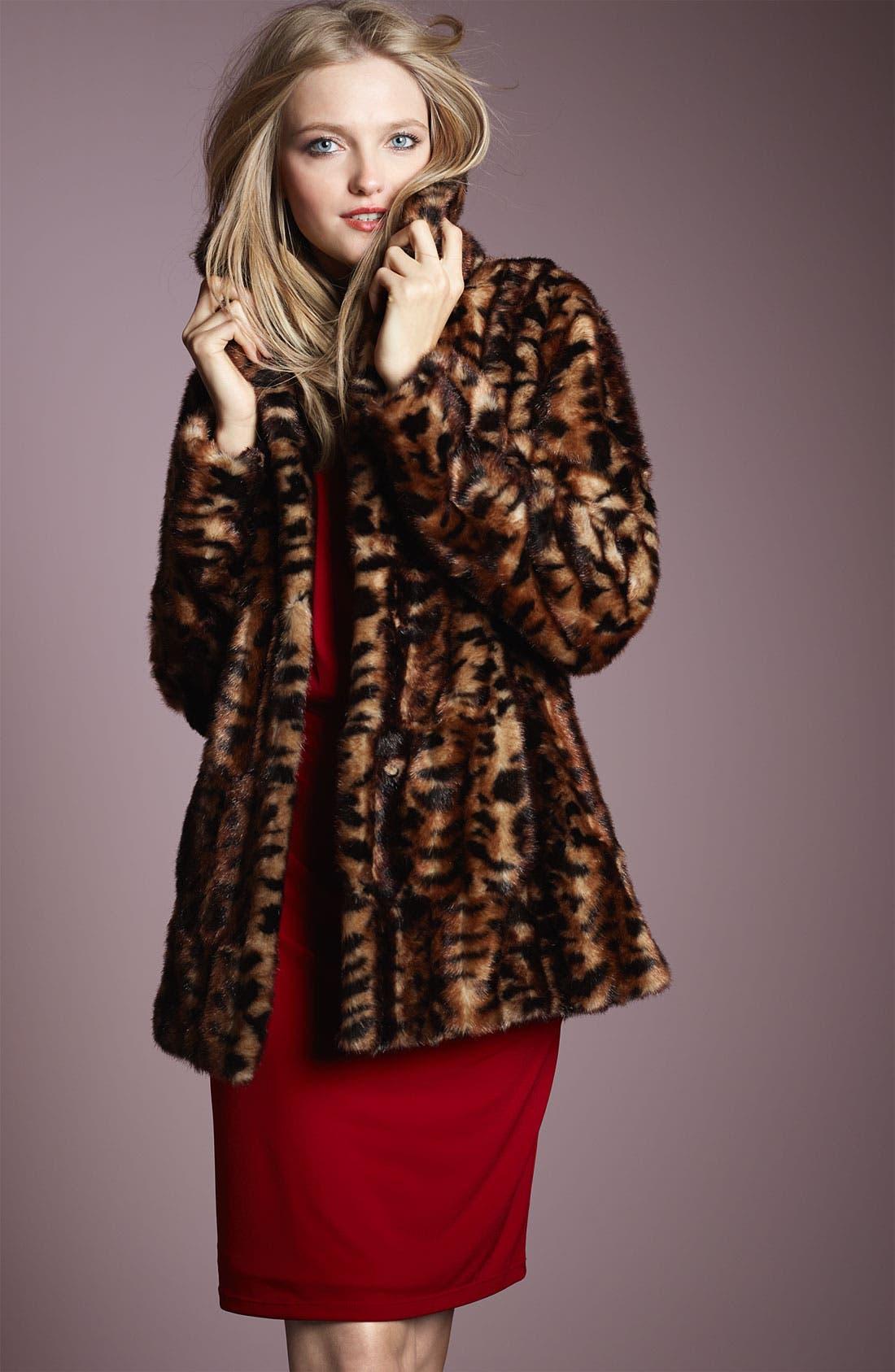 Faux Fur Jacket,                             Alternate thumbnail 3, color,