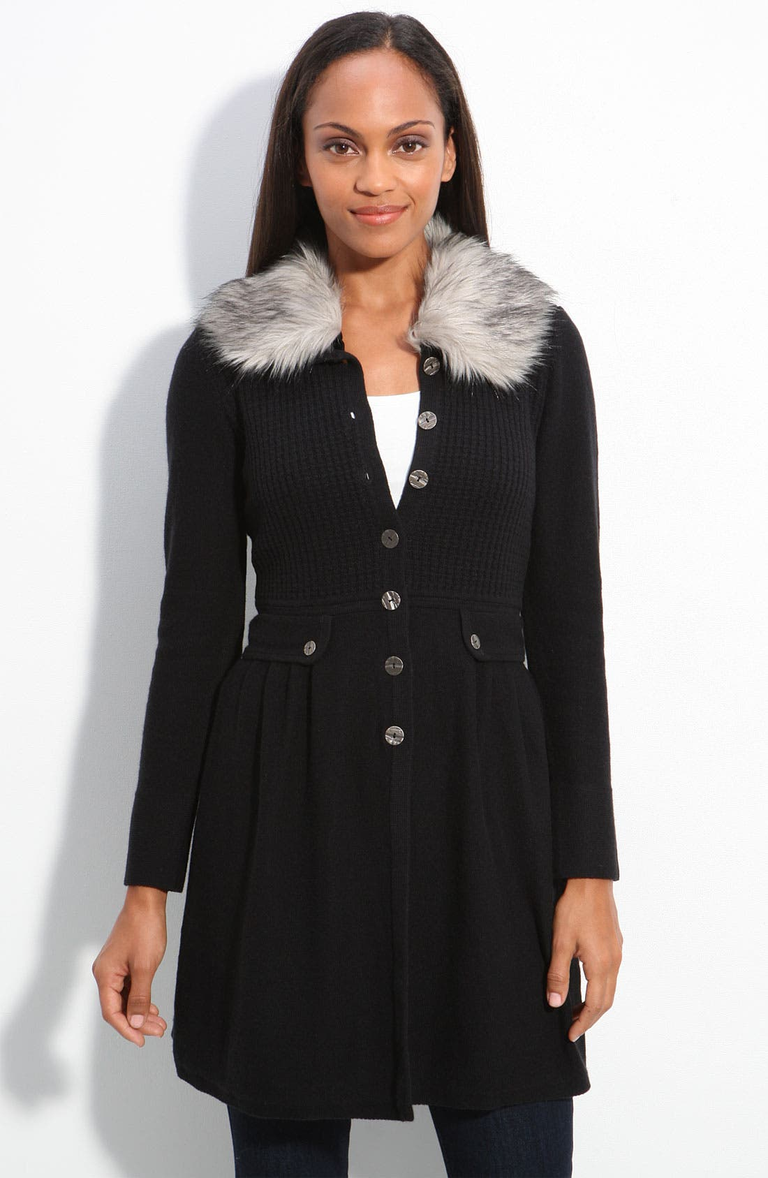 Main Image - Nic + Zoe Sweater Coat with Faux Fur Trim