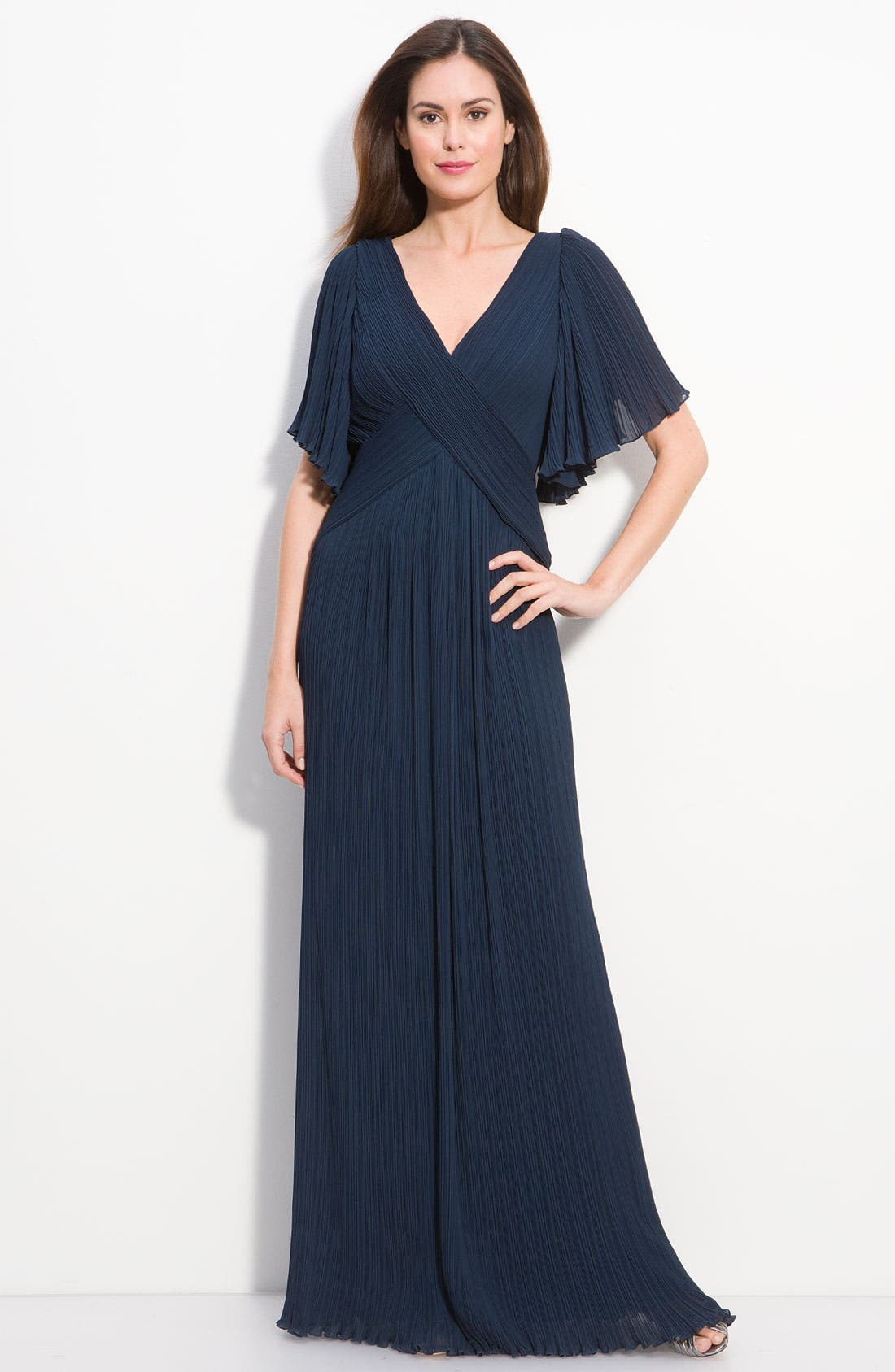 Alternate Image 1 Selected - Tadashi Shoji Pleated Chiffon Flutter Sleeve Gown