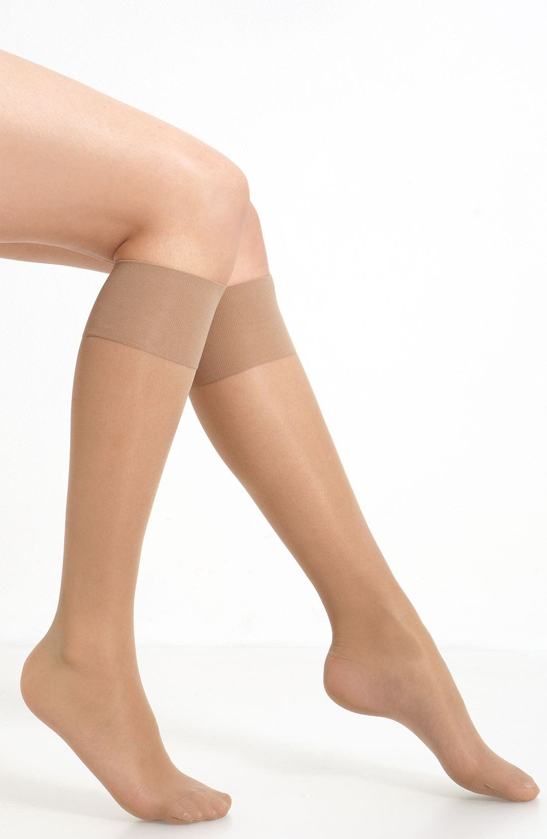 'Mi-Bas Repos 70' Sheer Support Knee Highs,                             Main thumbnail 1, color,                             Nude