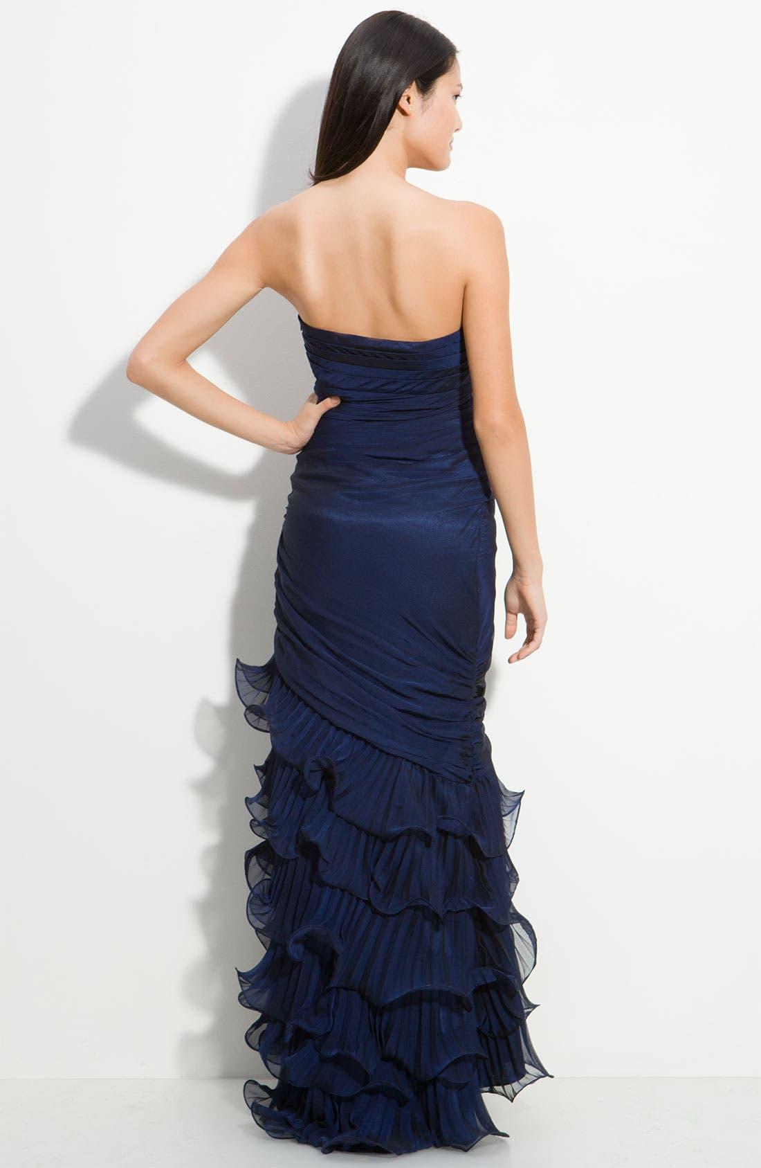 Alternate Image 2  - Dalia MacPhee Strapless Ruffle Chiffon Gown