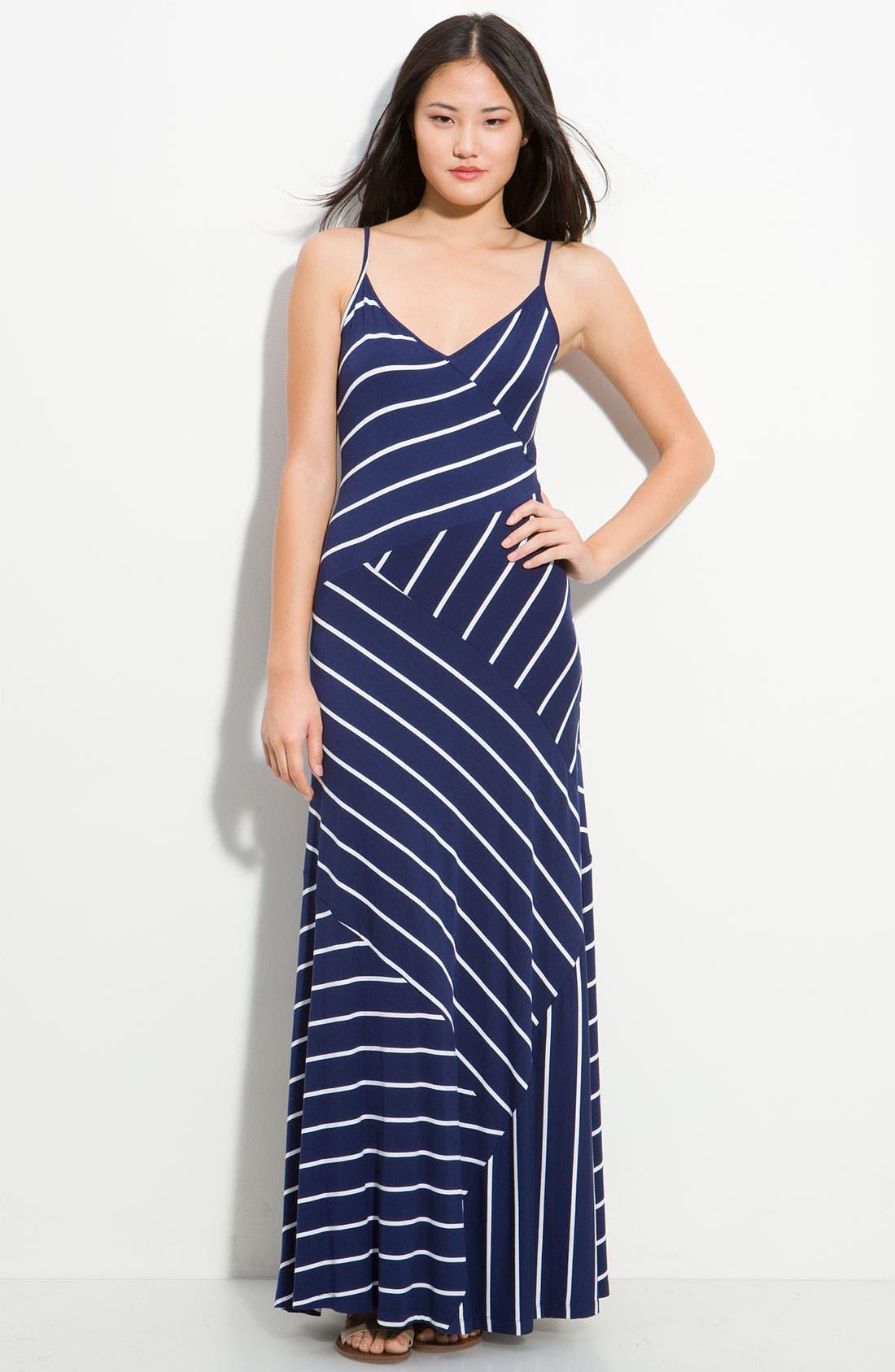 Asymmetrical Stripe Maxi Dress,                         Main,                         color, Navy/  White