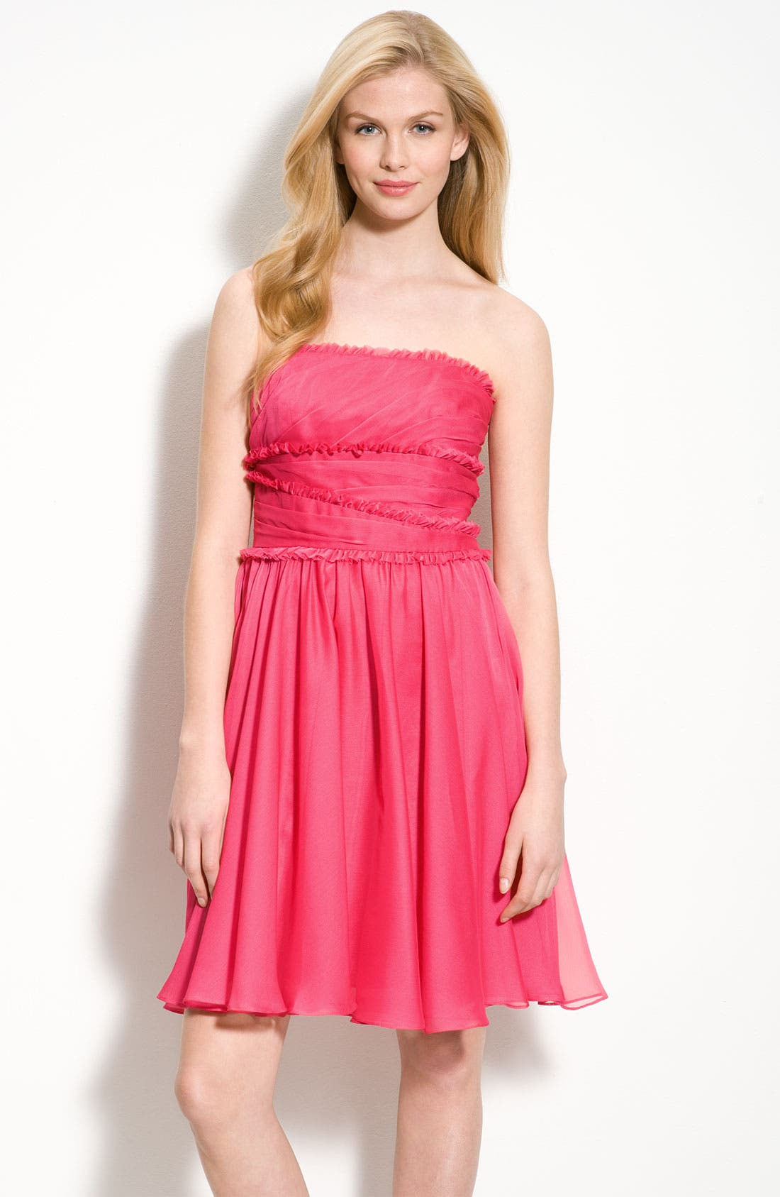 Alternate Image 1 Selected - ML Monique Lhuillier Bridesmaids Ruffle Chiffon Dress (Nordstrom Exclusive)