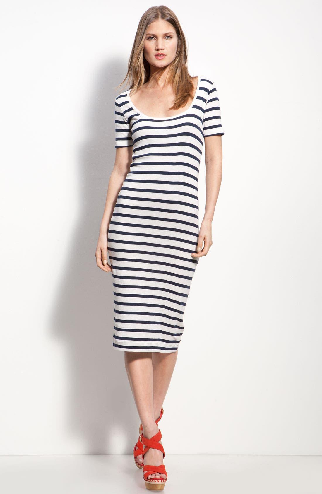 Stripe Knit Midi Sheath Dress,                             Main thumbnail 1, color,                             Off White/ Black