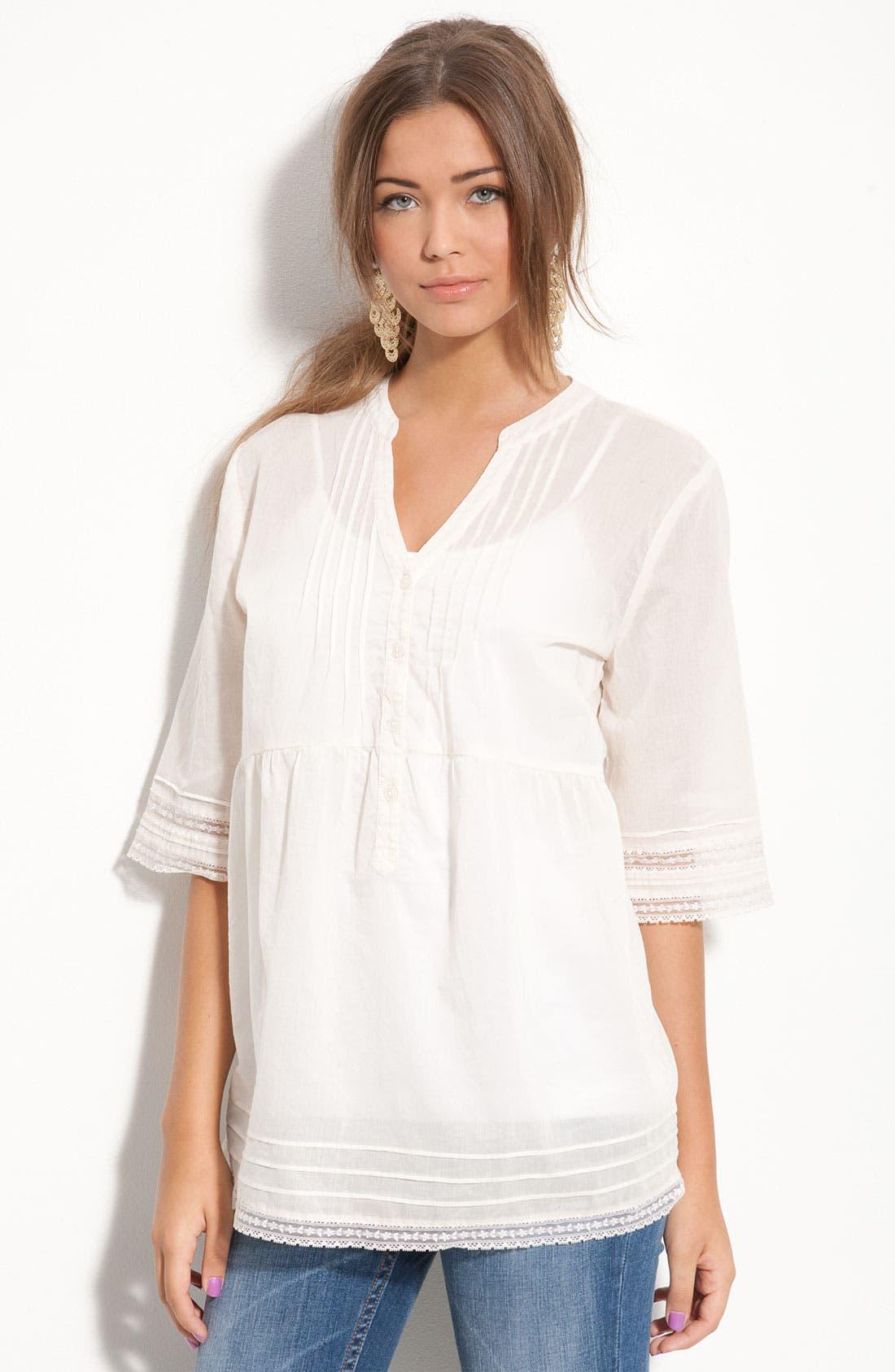 Main Image - Frenchi® Pintuck & Lace Shirt (Juniors)