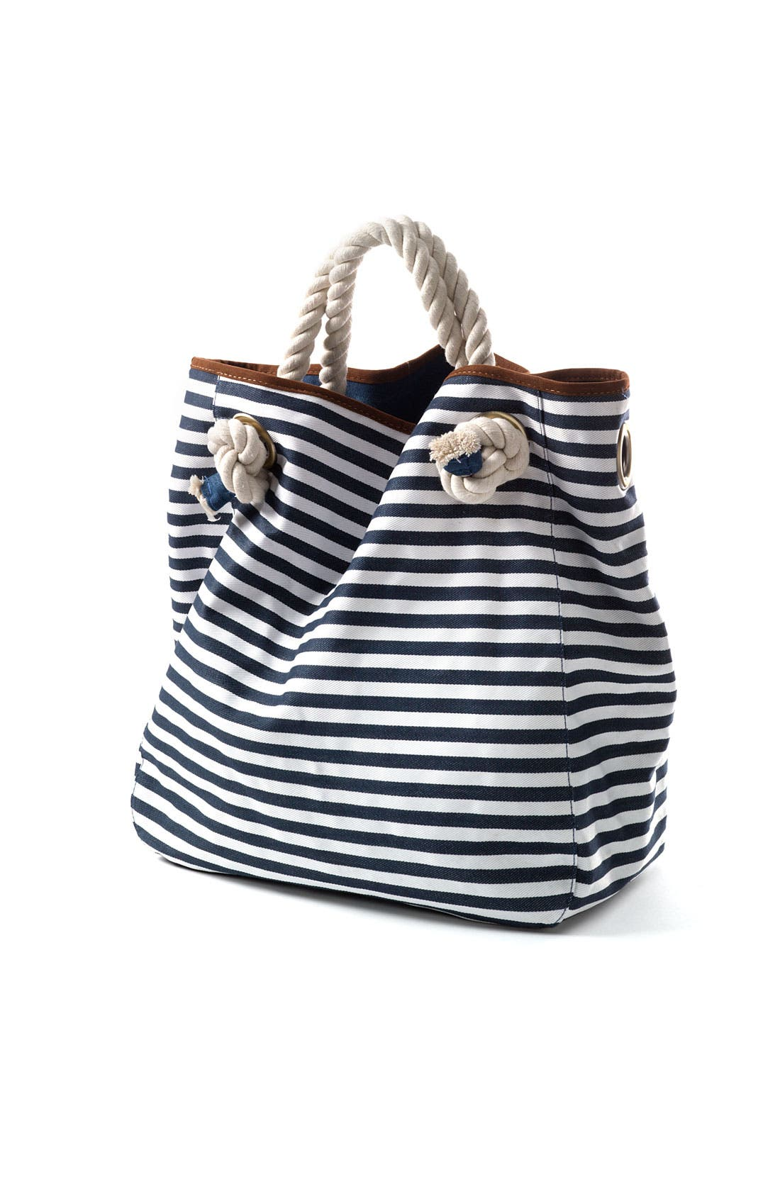 Alternate Image 2  - Street Level Nautical Stripe Canvas Tote