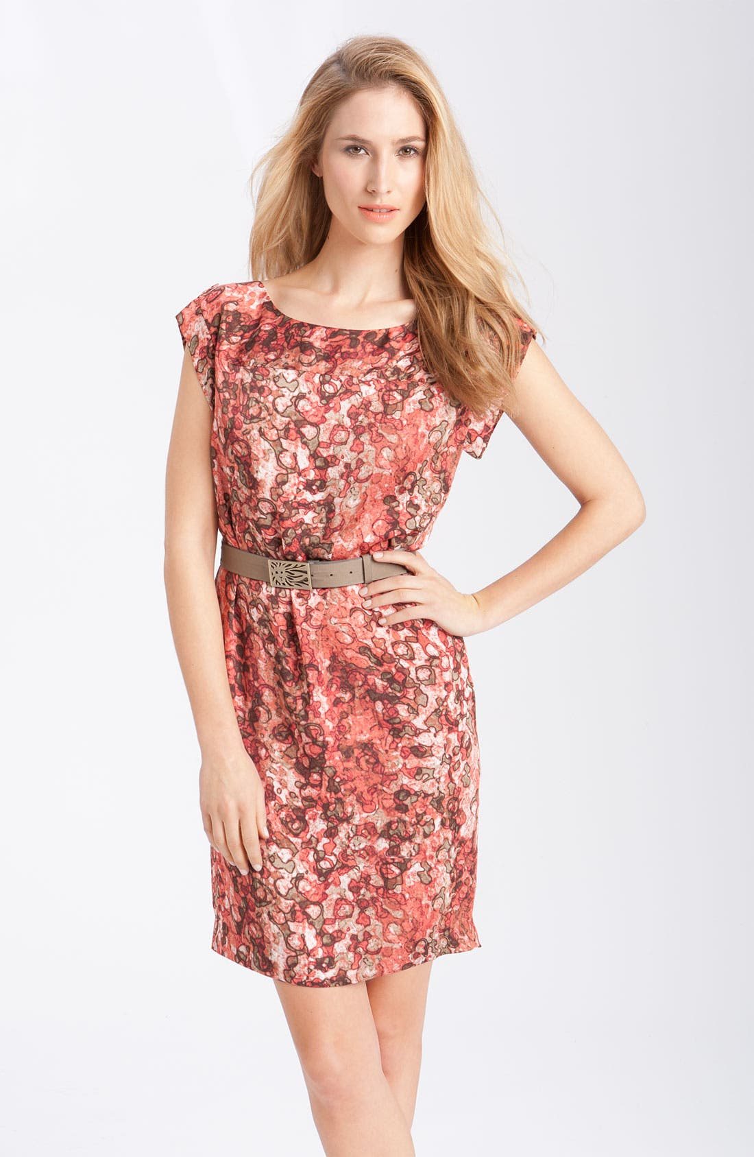'Watermark Print' Belted Dress,                         Main,                         color, Coral