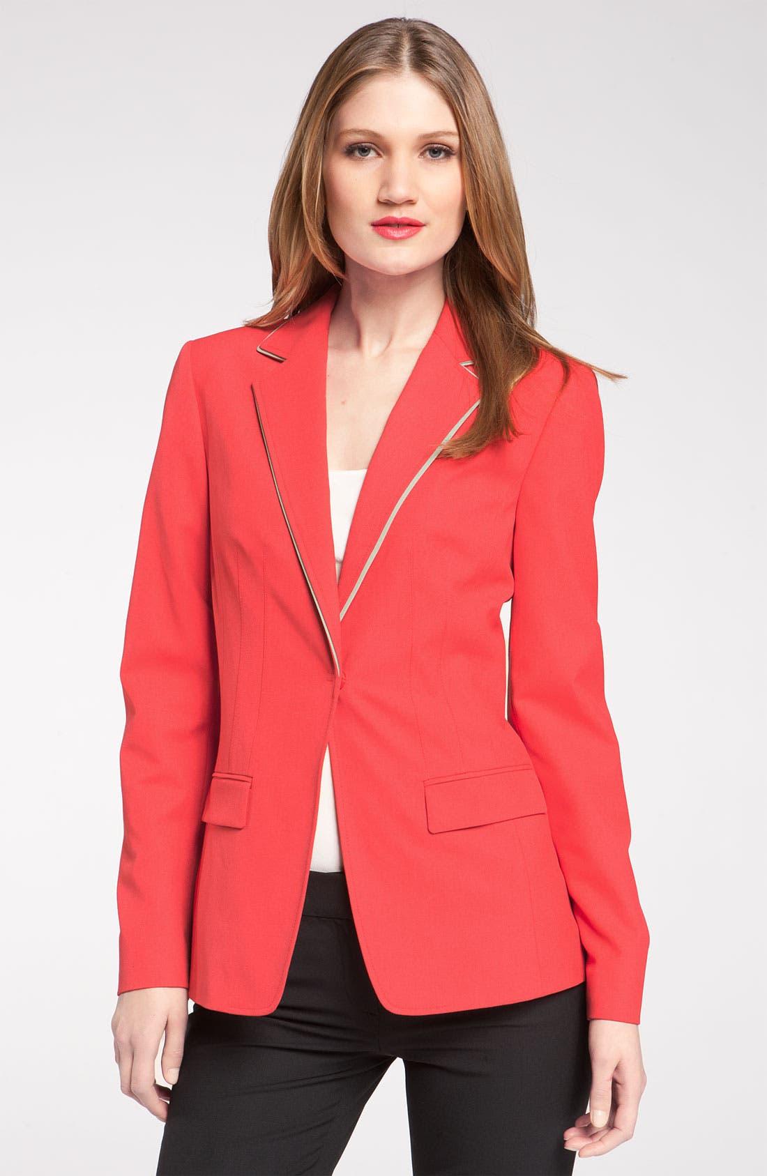 Alternate Image 1 Selected - Elie Tahari Exclusive for Nordstrom 'Melissa' Contrast Trim Jacket (Nordstrom Exclusive)