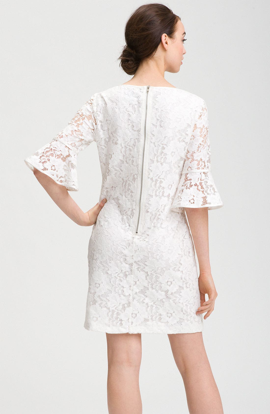 Alternate Image 2  - Adrianna Papell Ruffle Sleeve Lace Dress
