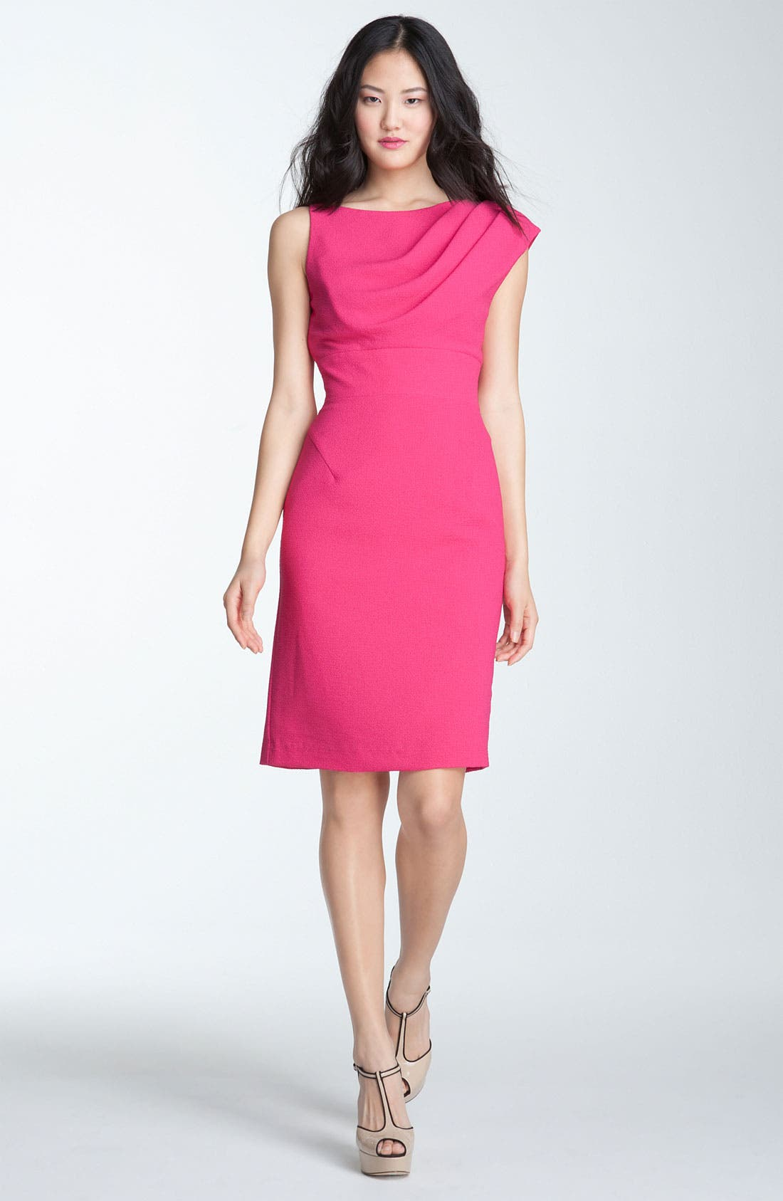 Main Image - Black Halo 'Alexander' Asymmetrical Pleat Crepe Sheath Dress